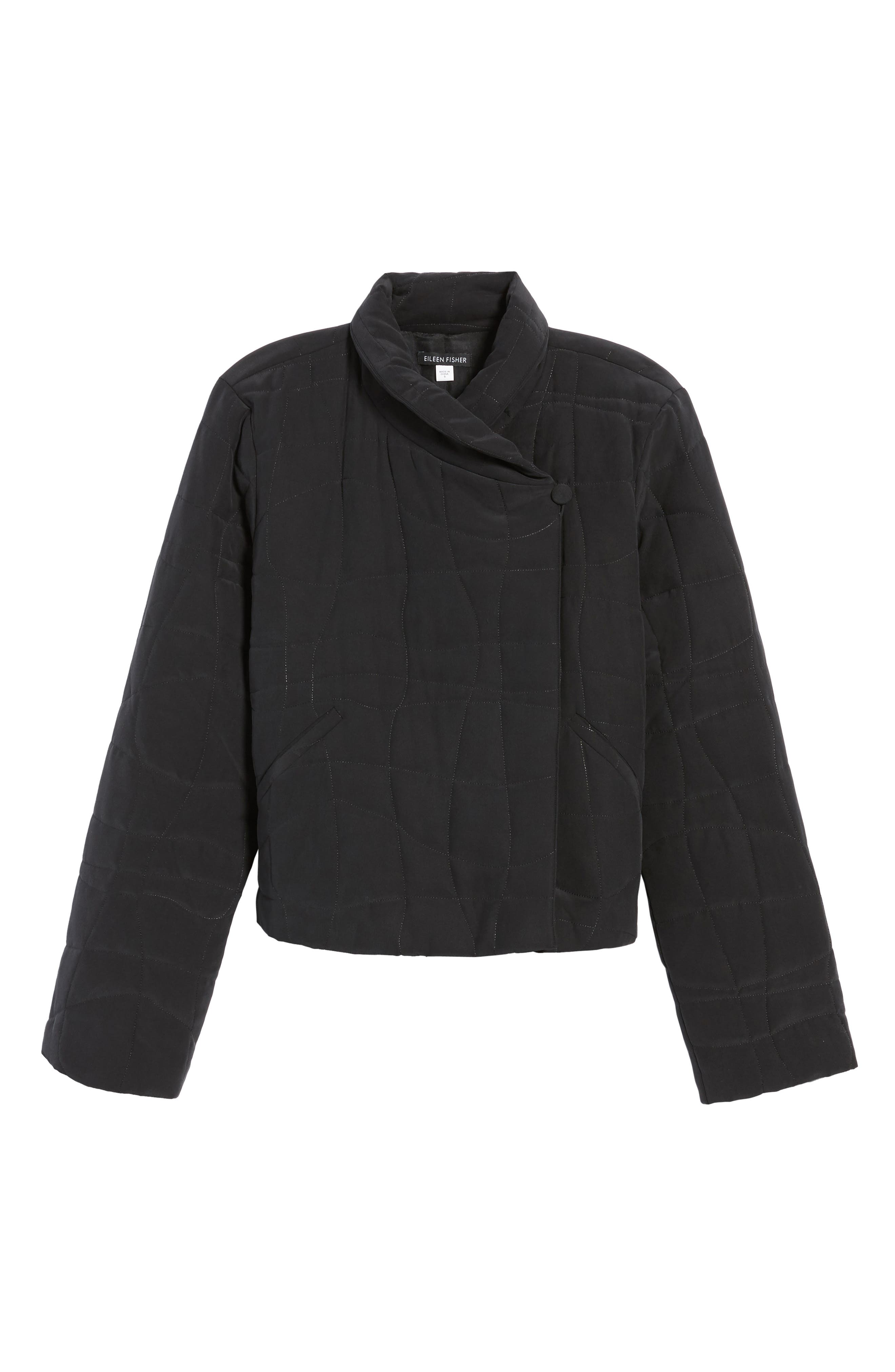 Quilted Silk Crop Jacket,                             Alternate thumbnail 5, color,                             001