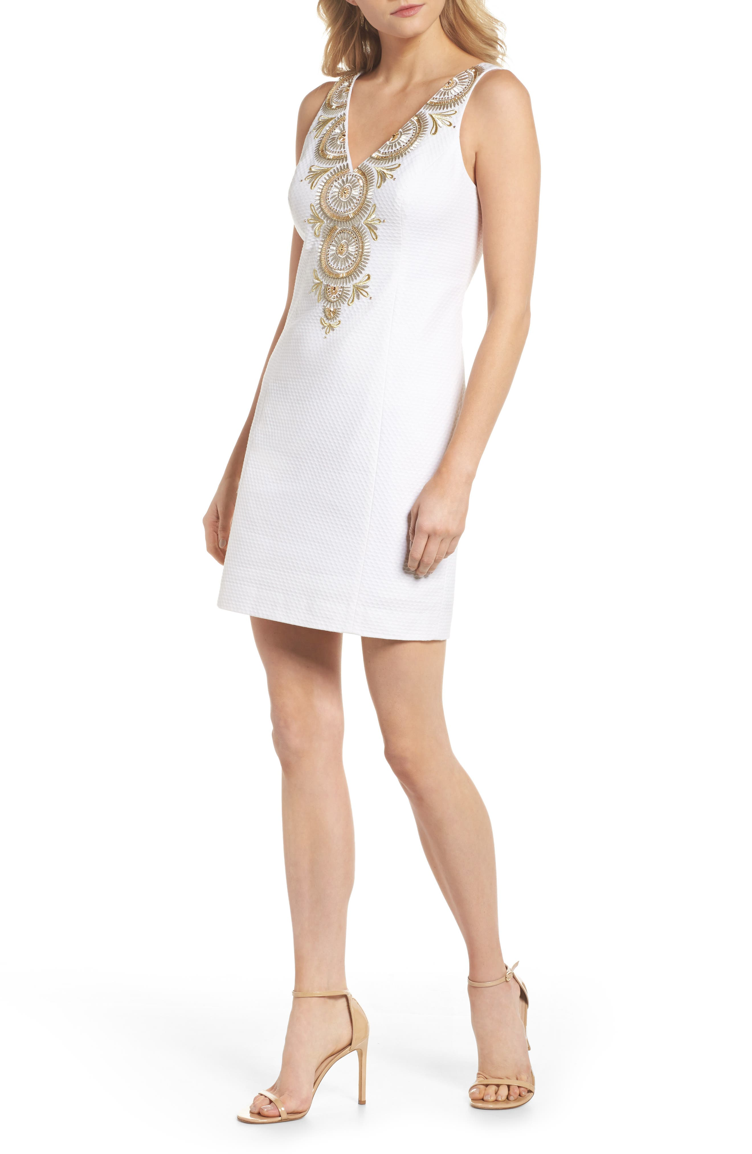Gabby Metallic Sheath Dress,                         Main,                         color, 115
