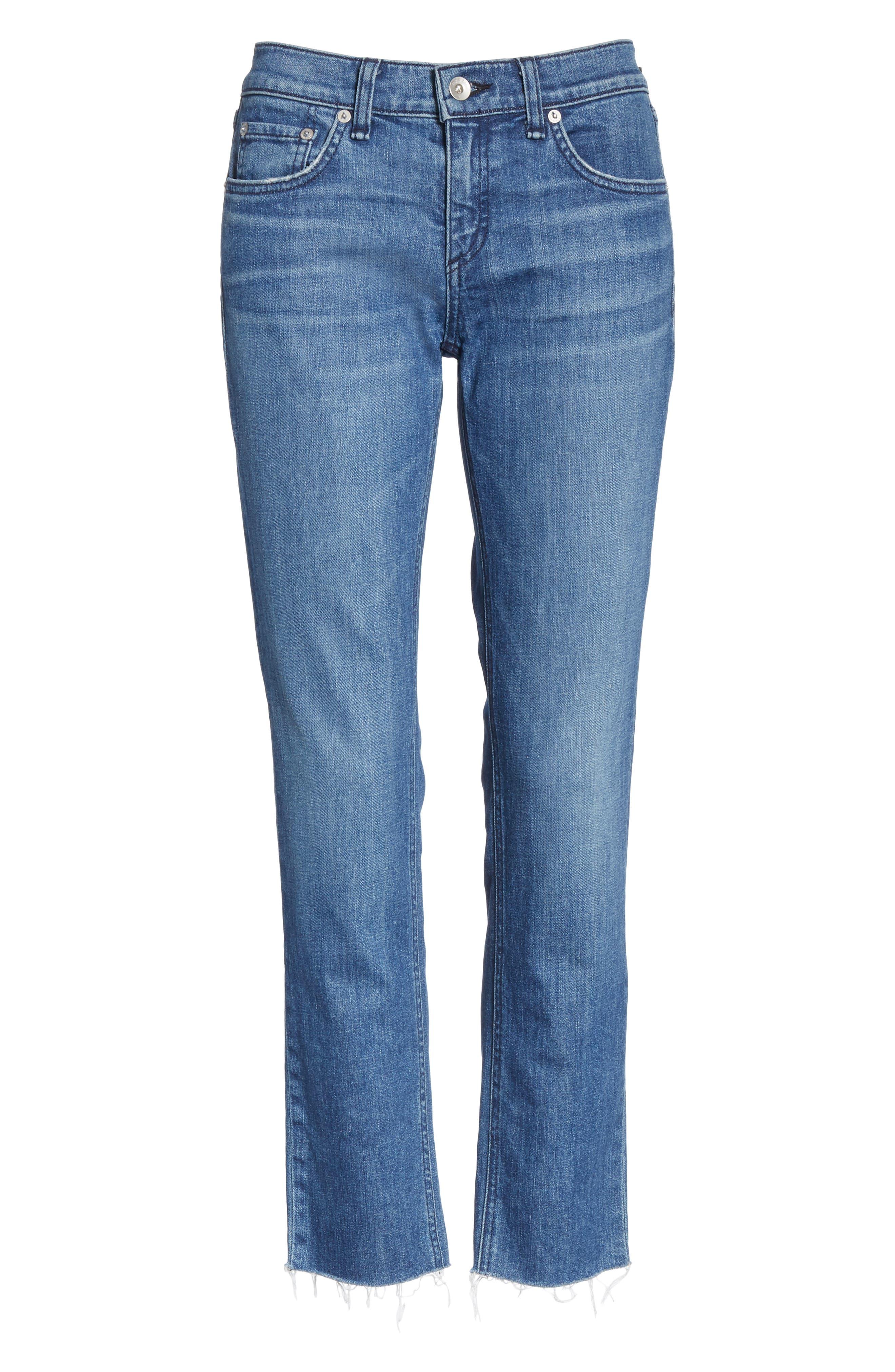 The Dre Crop Fray Hem Slim Fit Boyfriend Jeans,                             Alternate thumbnail 6, color,                             LOVIE