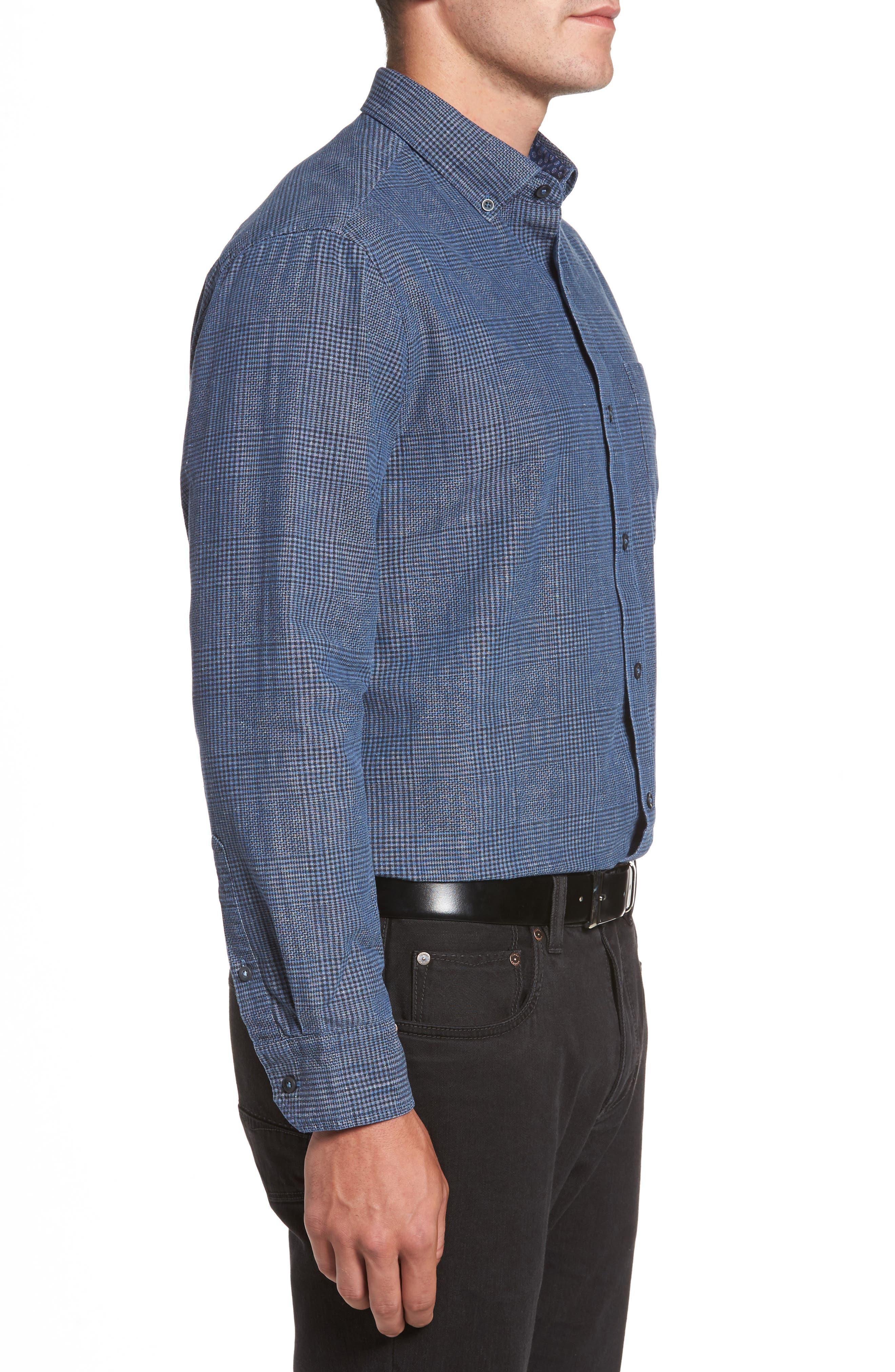 Almeria Standard Fit Plaid Sport Shirt,                             Alternate thumbnail 3, color,