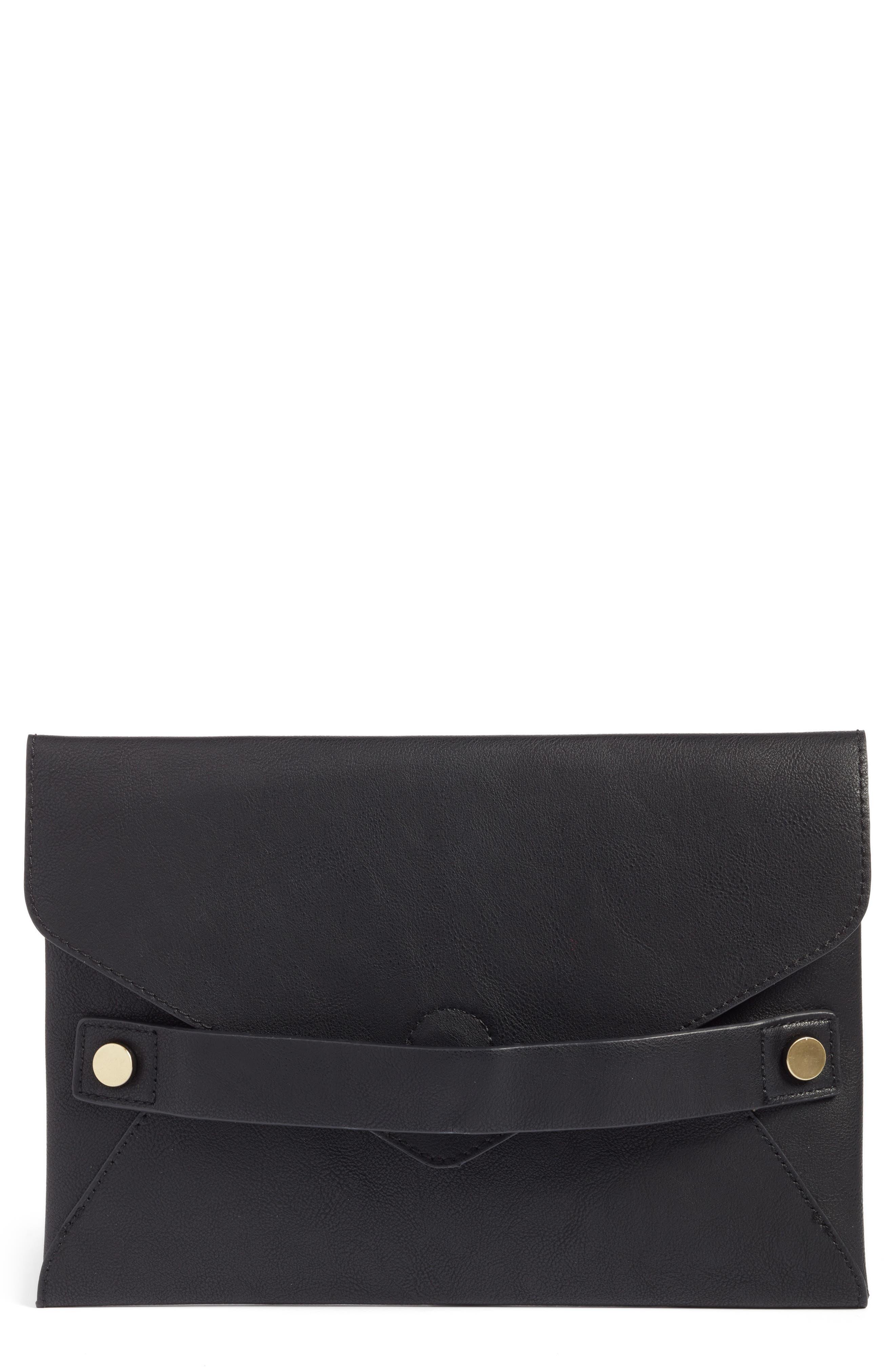 Karen Faux Leather Envelope Clutch,                             Main thumbnail 1, color,                             001
