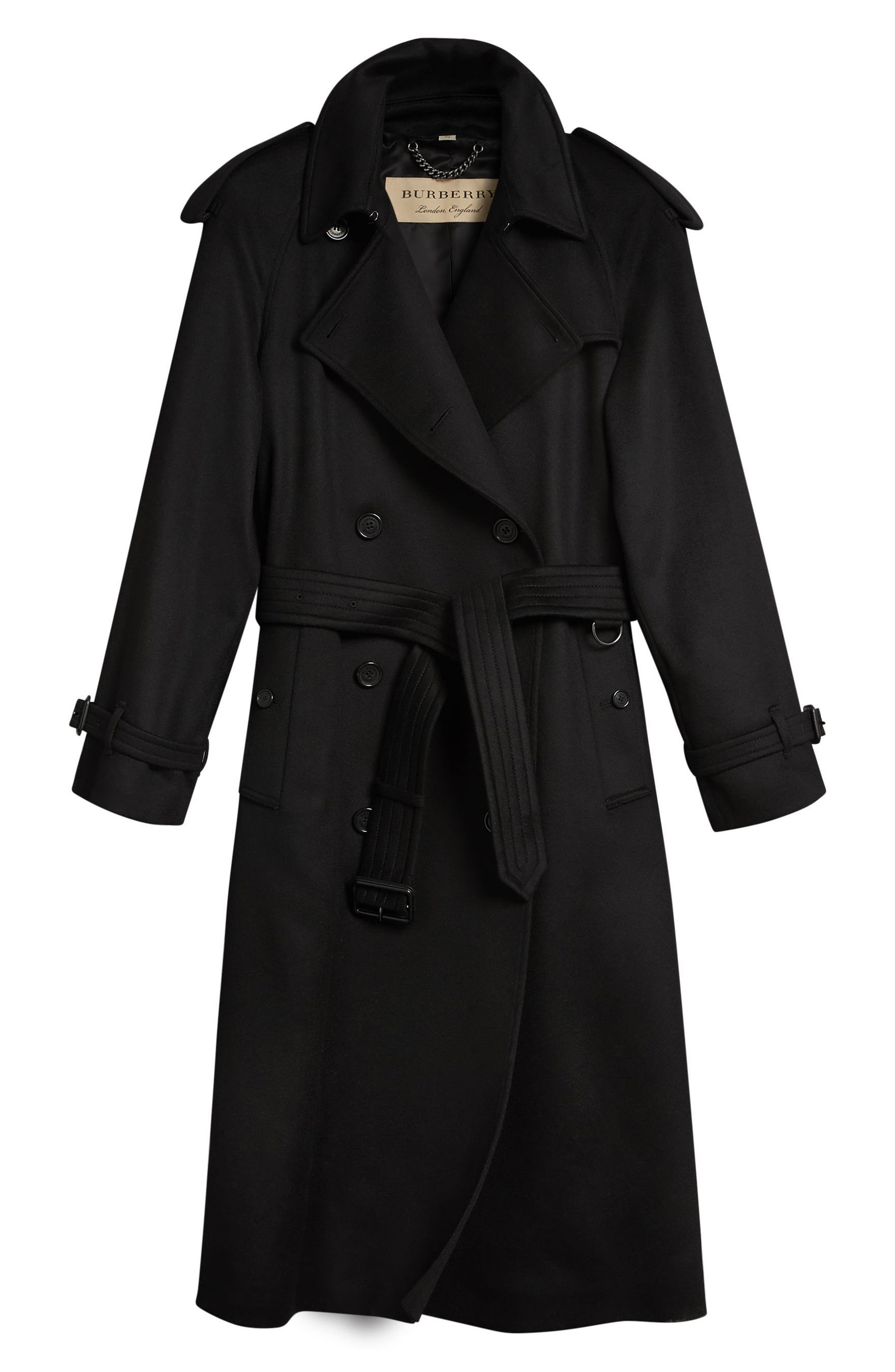 Eastheath Cashmere Trench Coat,                             Alternate thumbnail 5, color,                             BLACK