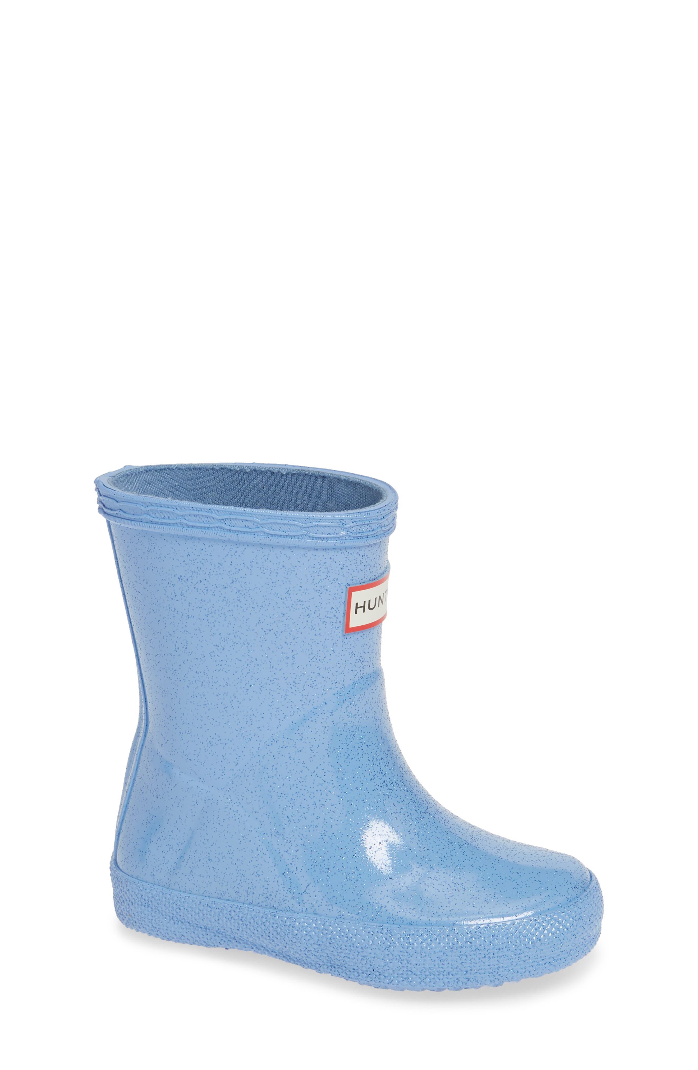 Kids First Classic Starcloud Glitter Rain Boot,                             Main thumbnail 1, color,                             VIVID BLUE