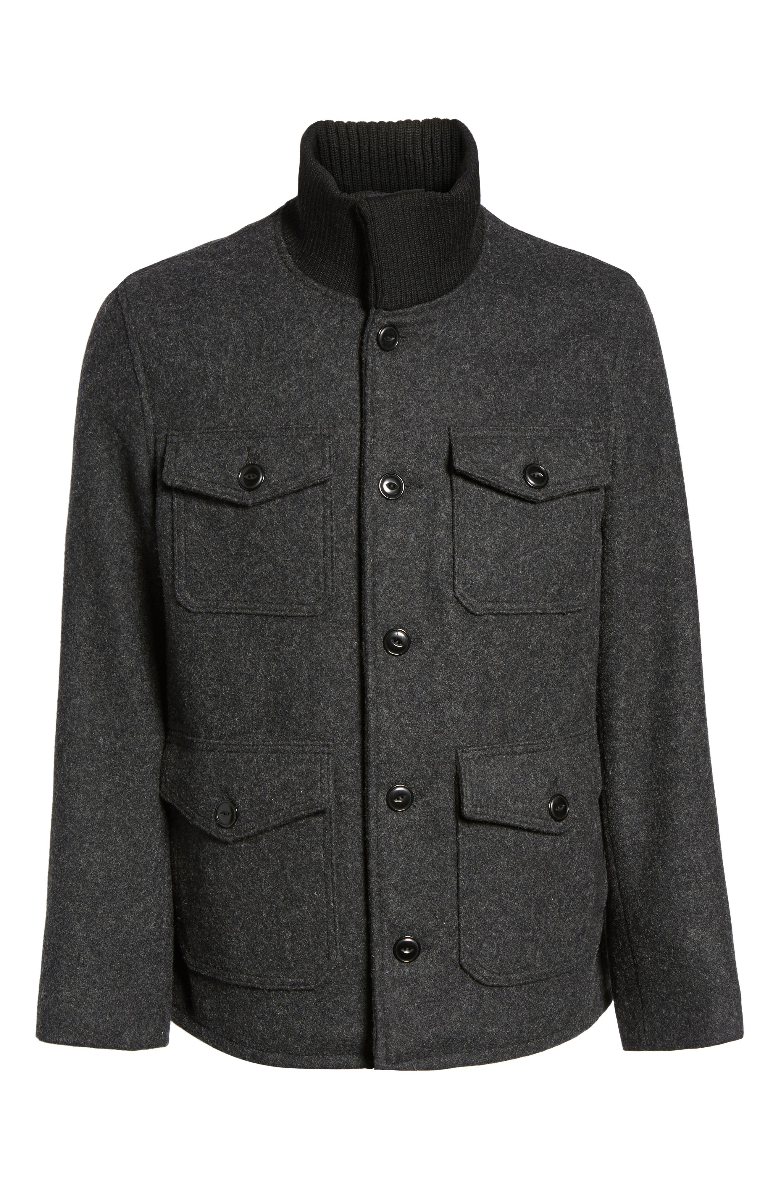 Wool Blend Field Jacket,                             Alternate thumbnail 5, color,                             DARK OXFORD