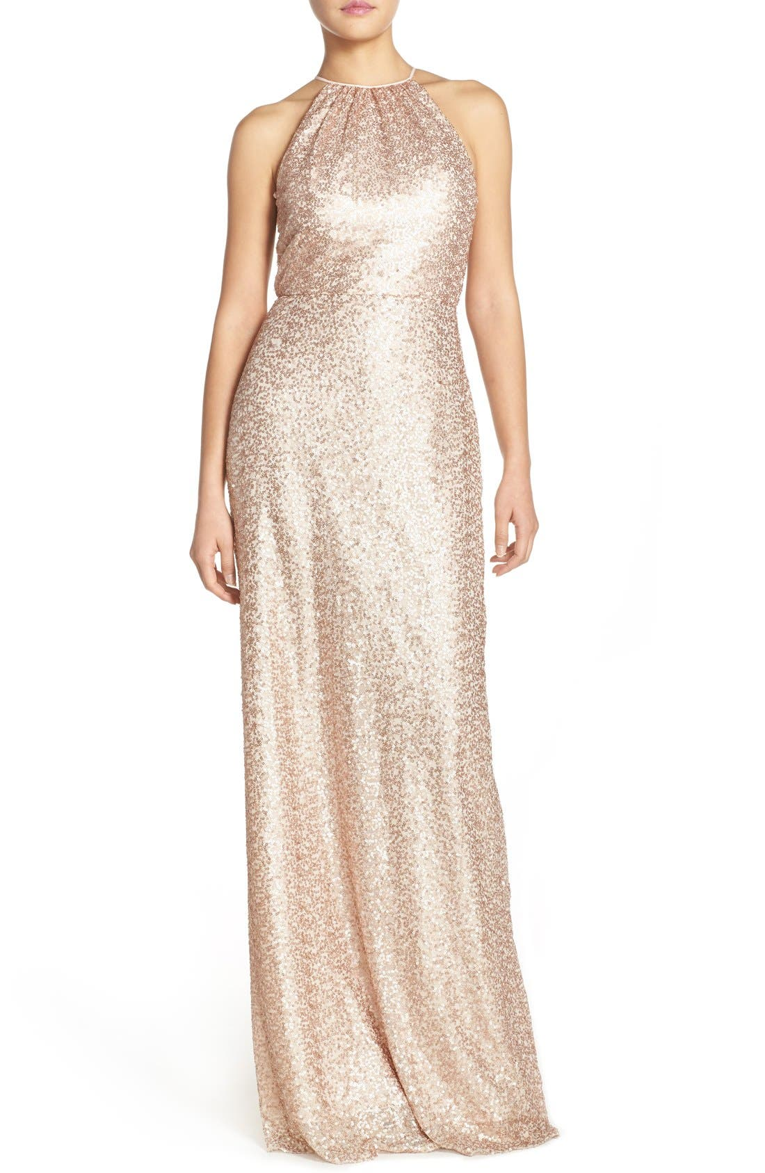 'Chandler' Sequin Tulle Halter Style Gown,                             Main thumbnail 5, color,