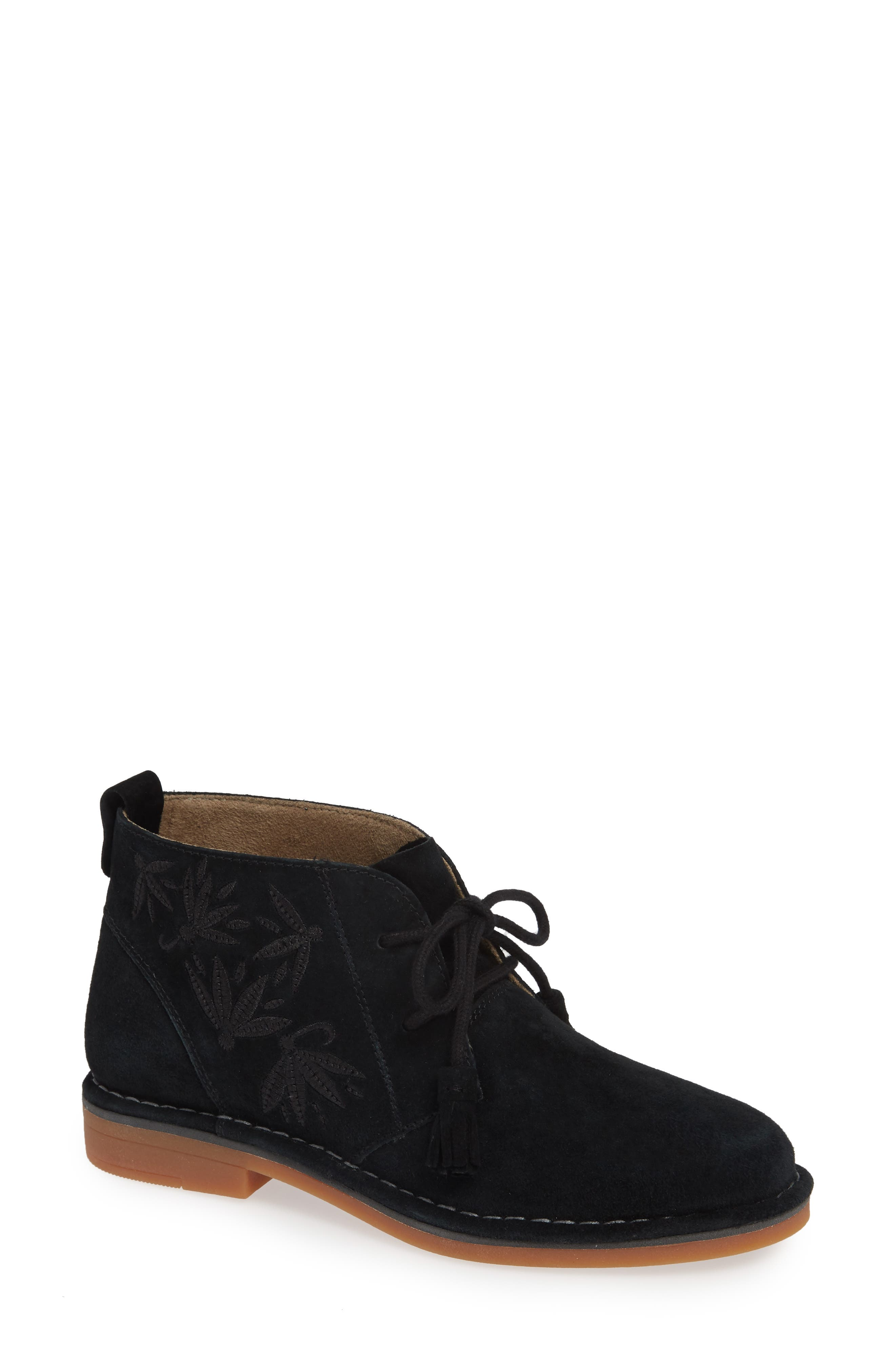 HUSH PUPPIES<SUP>®</SUP>,                             Cyra Catelyn Chukka Bootie,                             Main thumbnail 1, color,                             BLACK SUEDE