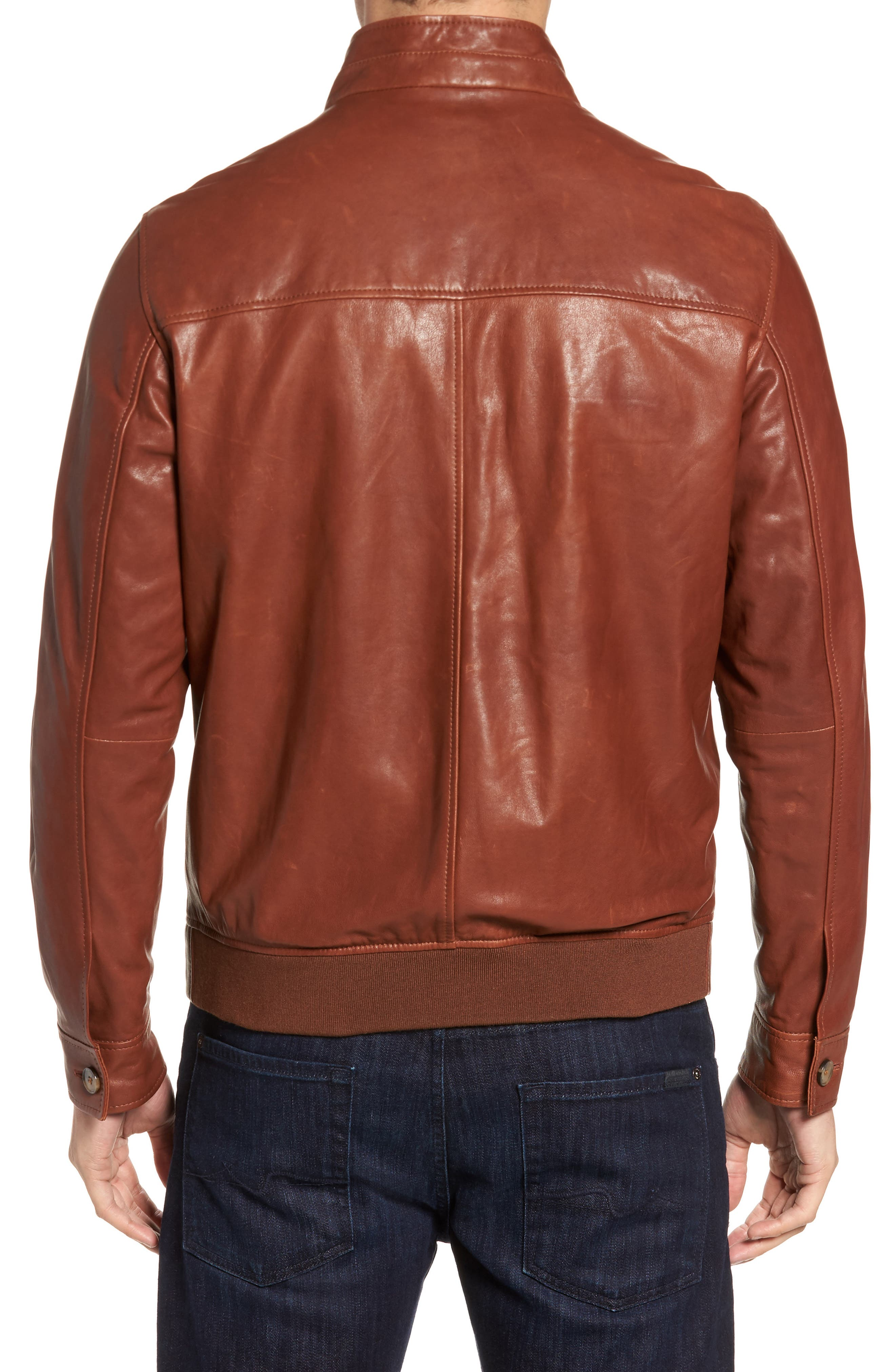 Classic Leather Bomber Jacket,                             Alternate thumbnail 2, color,