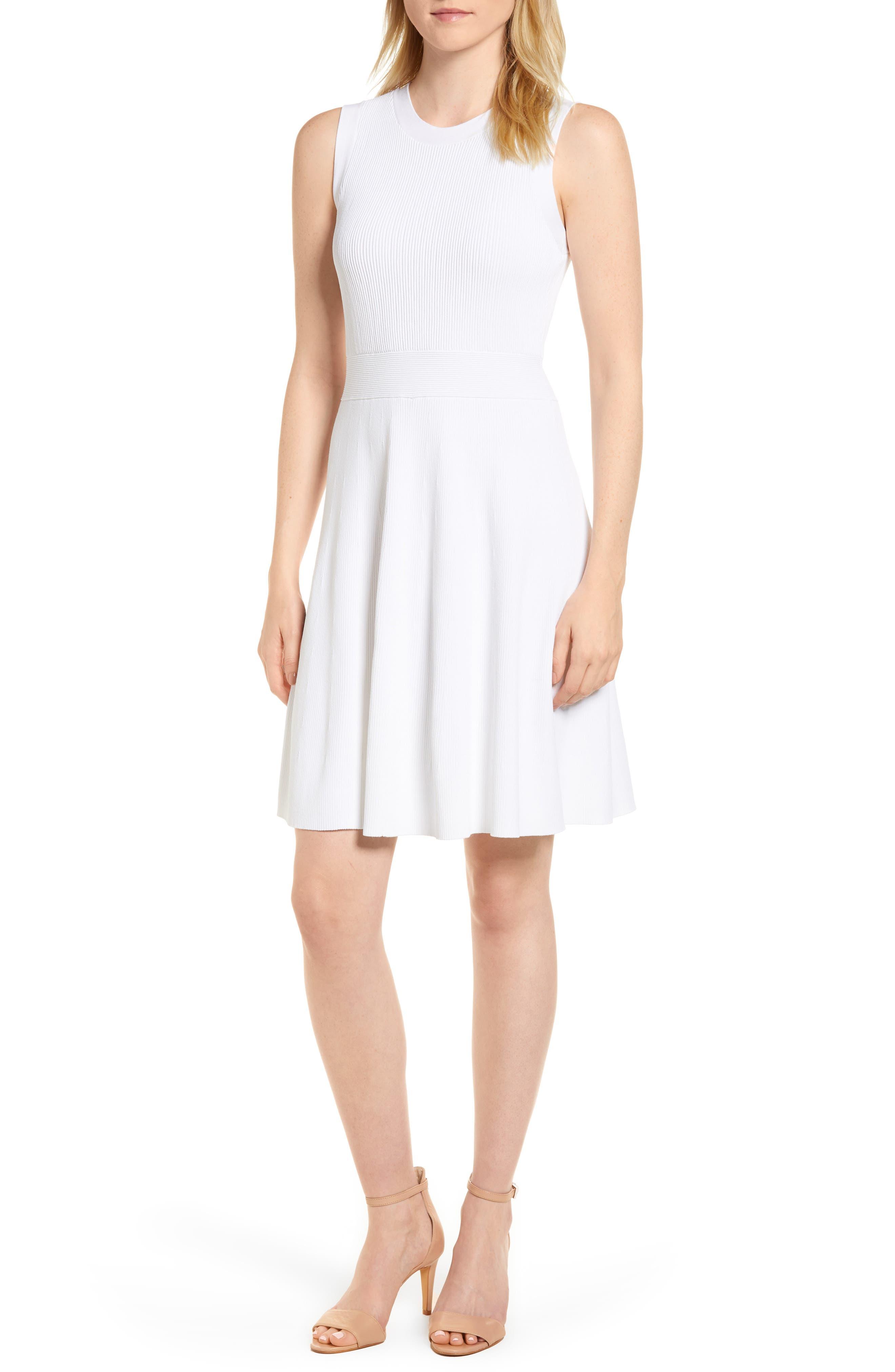 Keyhole Back Fit & Flare Sleeveless Dress,                             Main thumbnail 1, color,