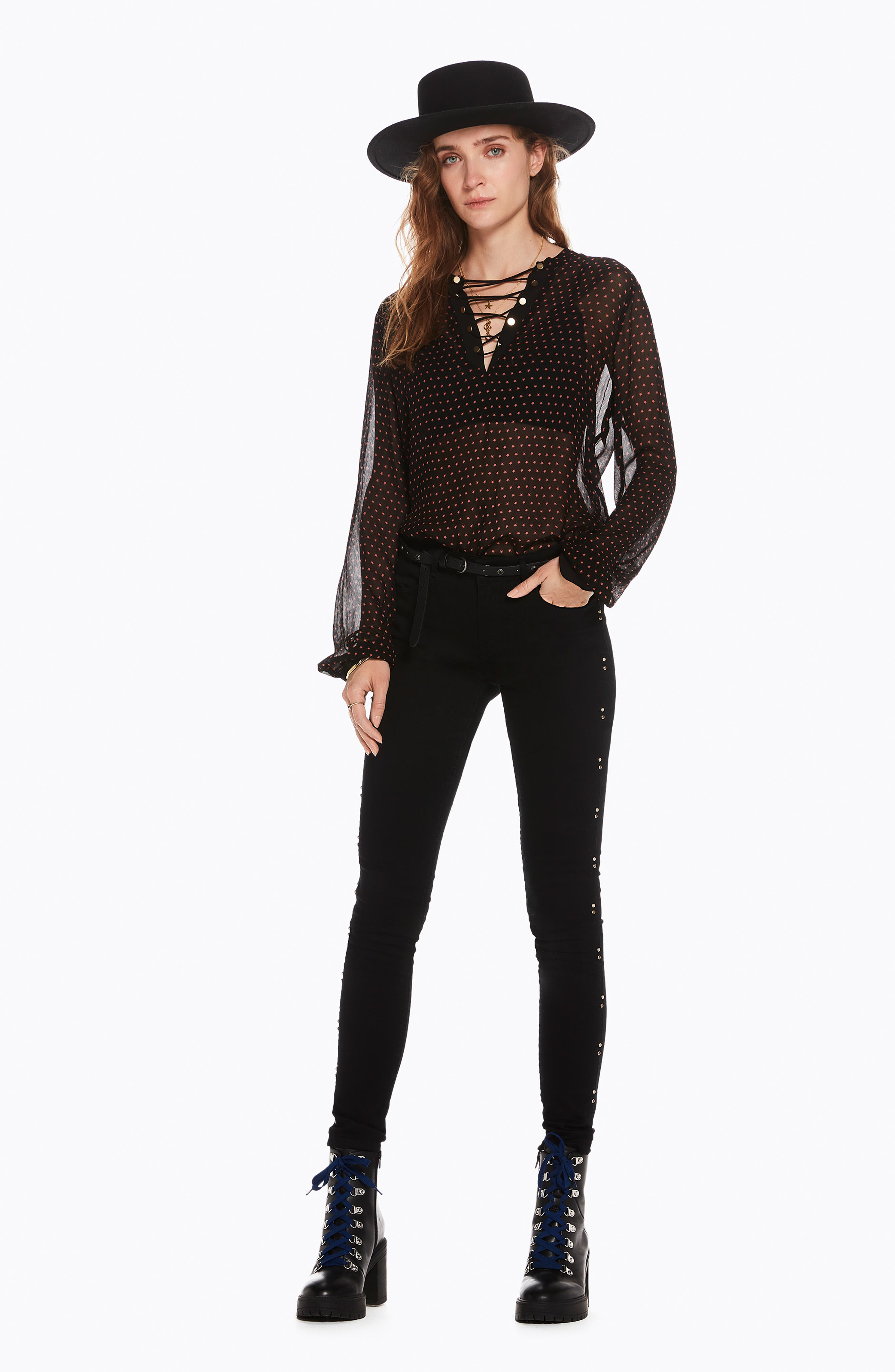 Lace-Up Star Print Blouse,                             Alternate thumbnail 5, color,                             BLACK W/ SMALL STAR