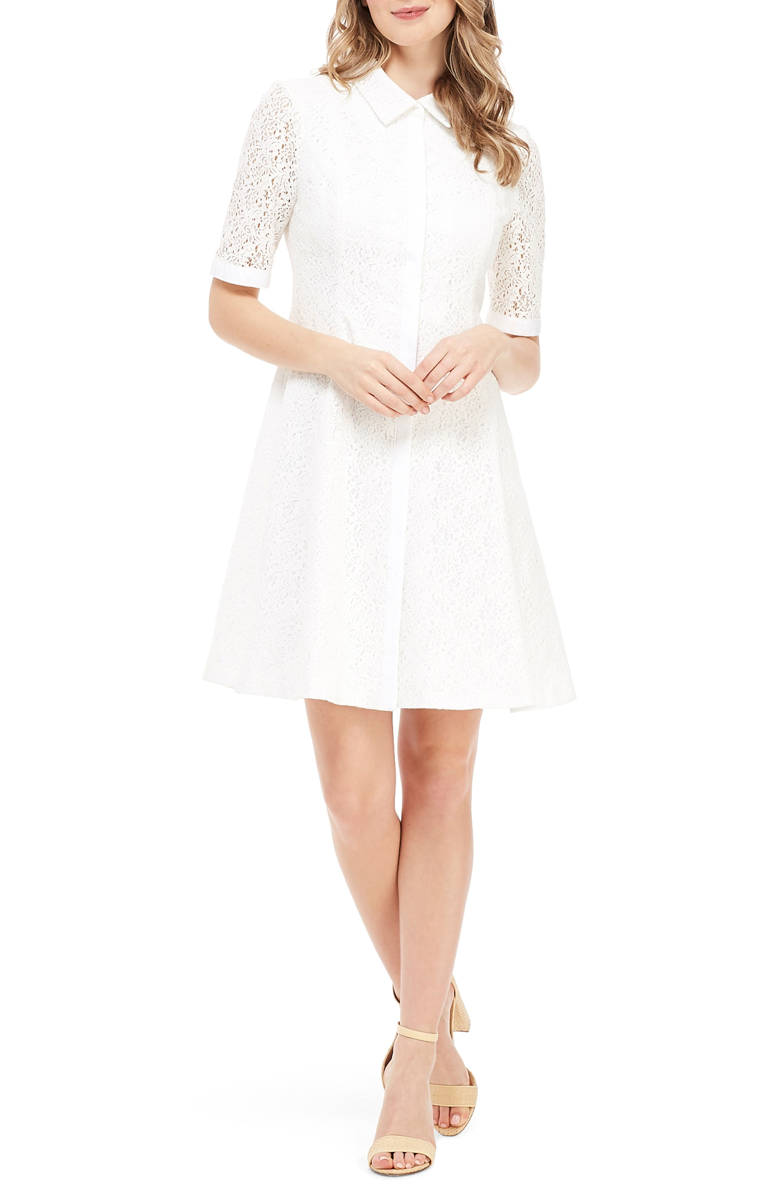 Gal Meets Glam Collection Button Front A-Line Lace Dress, White