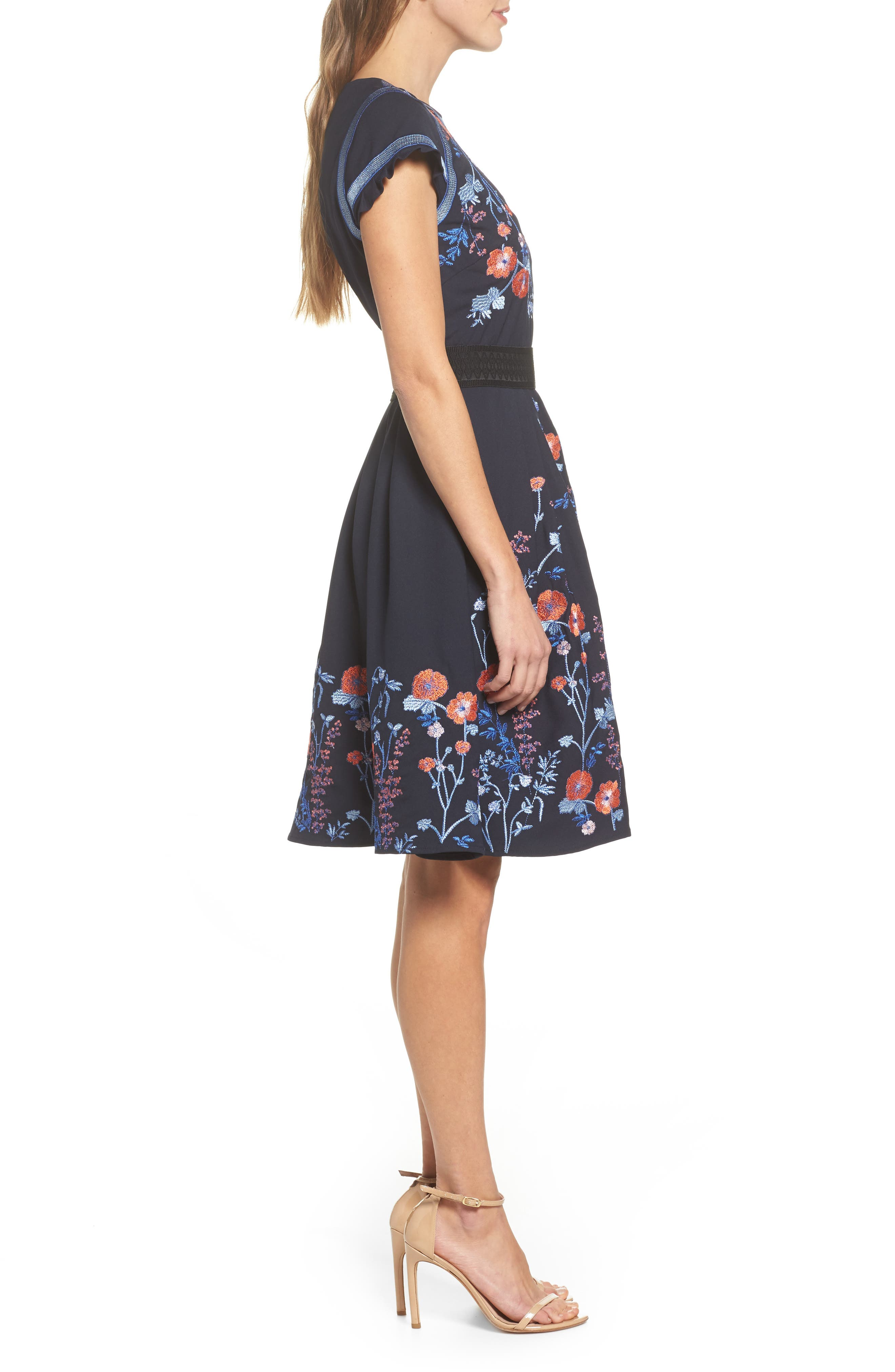 Senna Embroidered Fit & Flare Dress,                             Alternate thumbnail 3, color,                             400