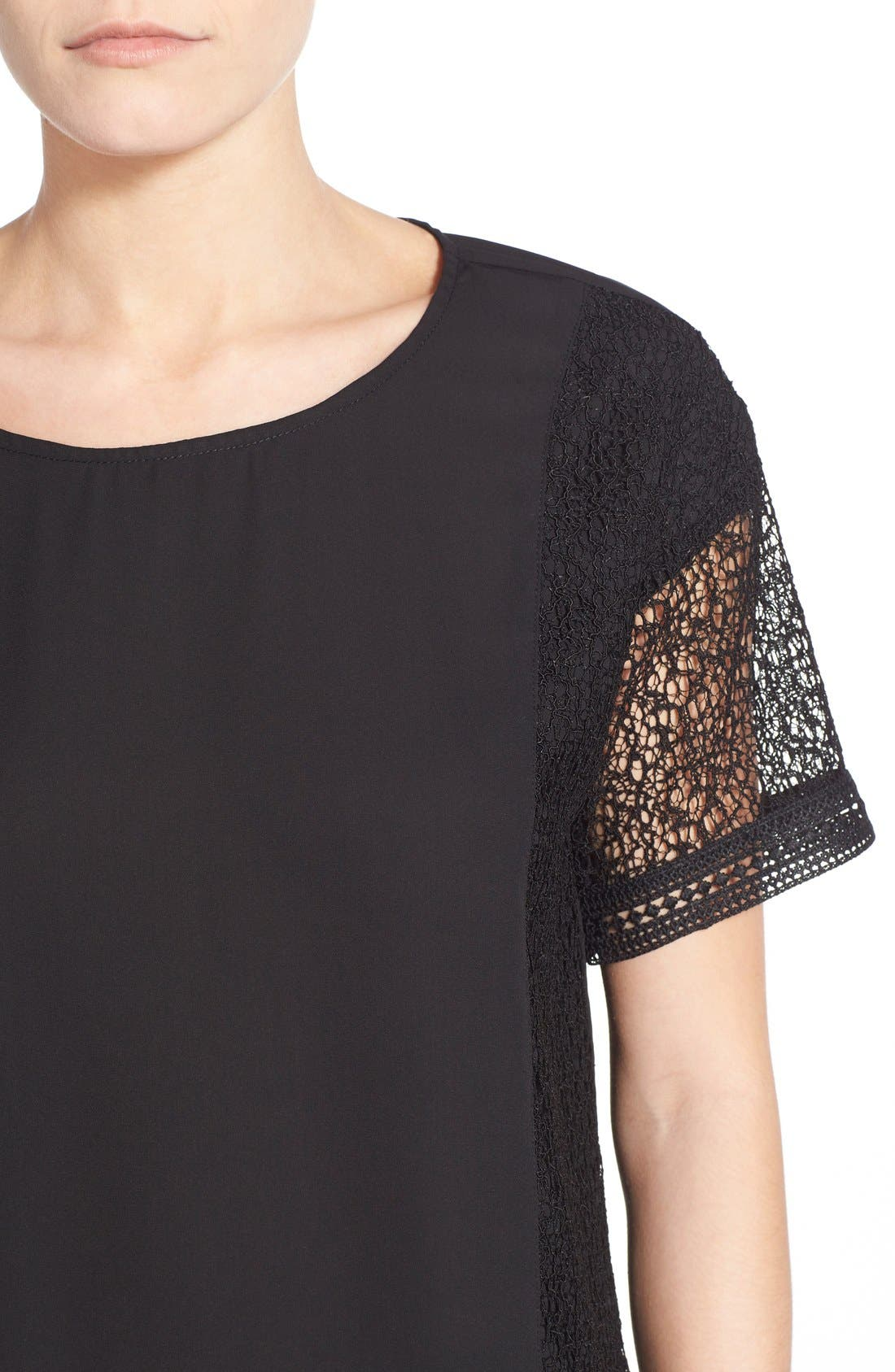 Lace Inset Short Sleeve Top,                             Alternate thumbnail 2, color,                             001