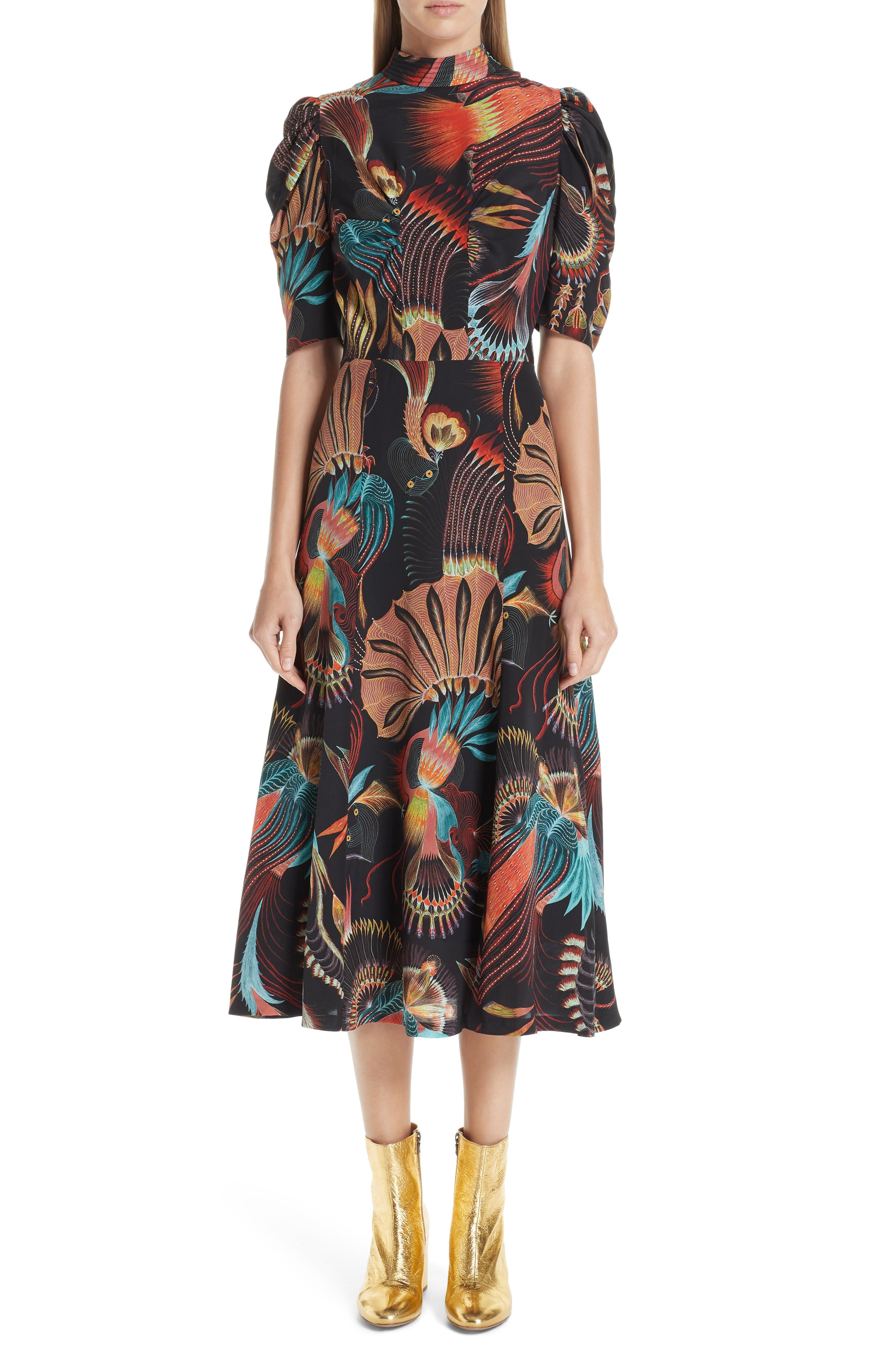 Tattoo Floral Print Silk Dress,                             Main thumbnail 1, color,                             BLACK