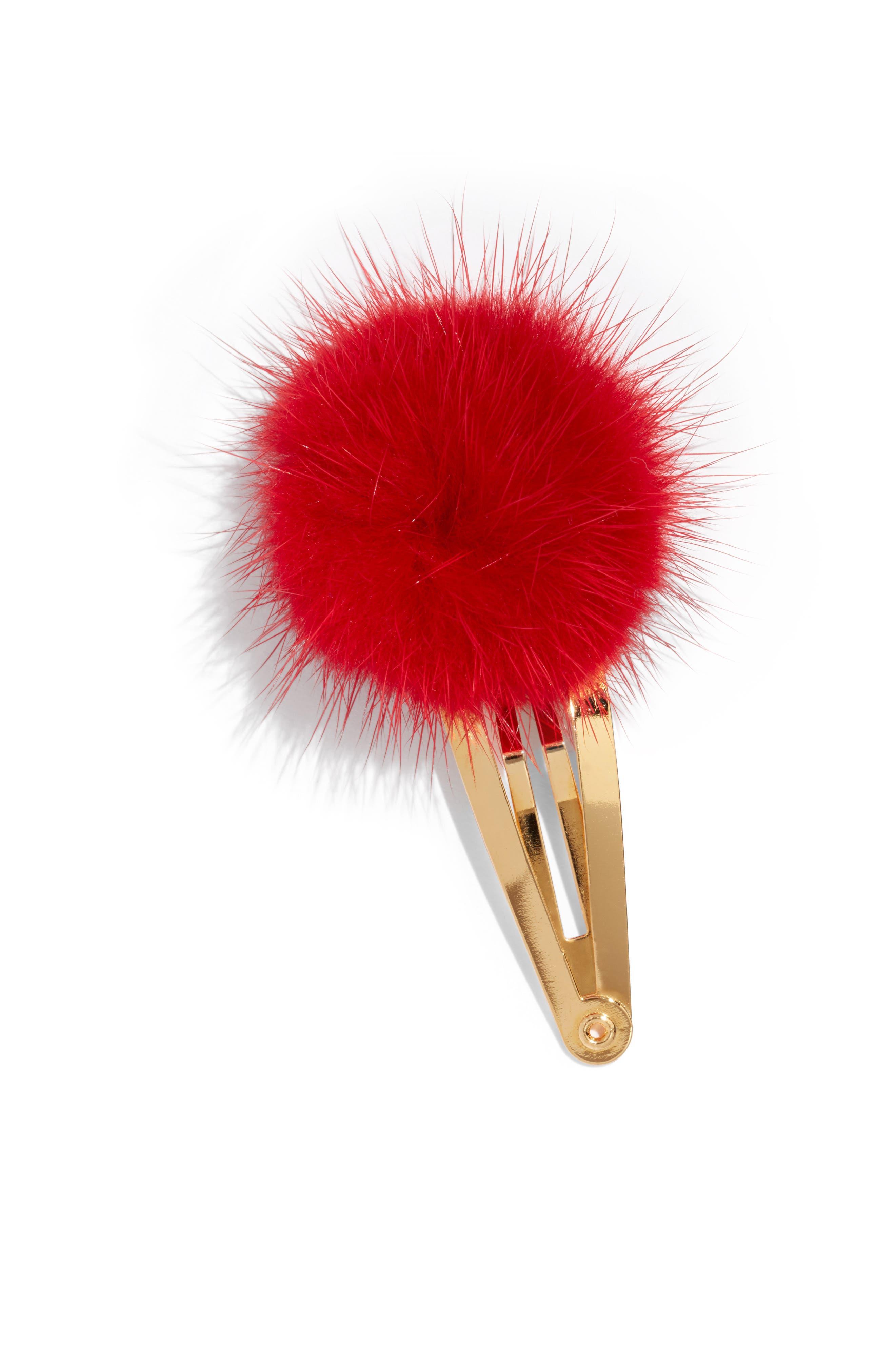 Genuine Mink Fur Pom Snap Clip,                             Main thumbnail 1, color,                             RED