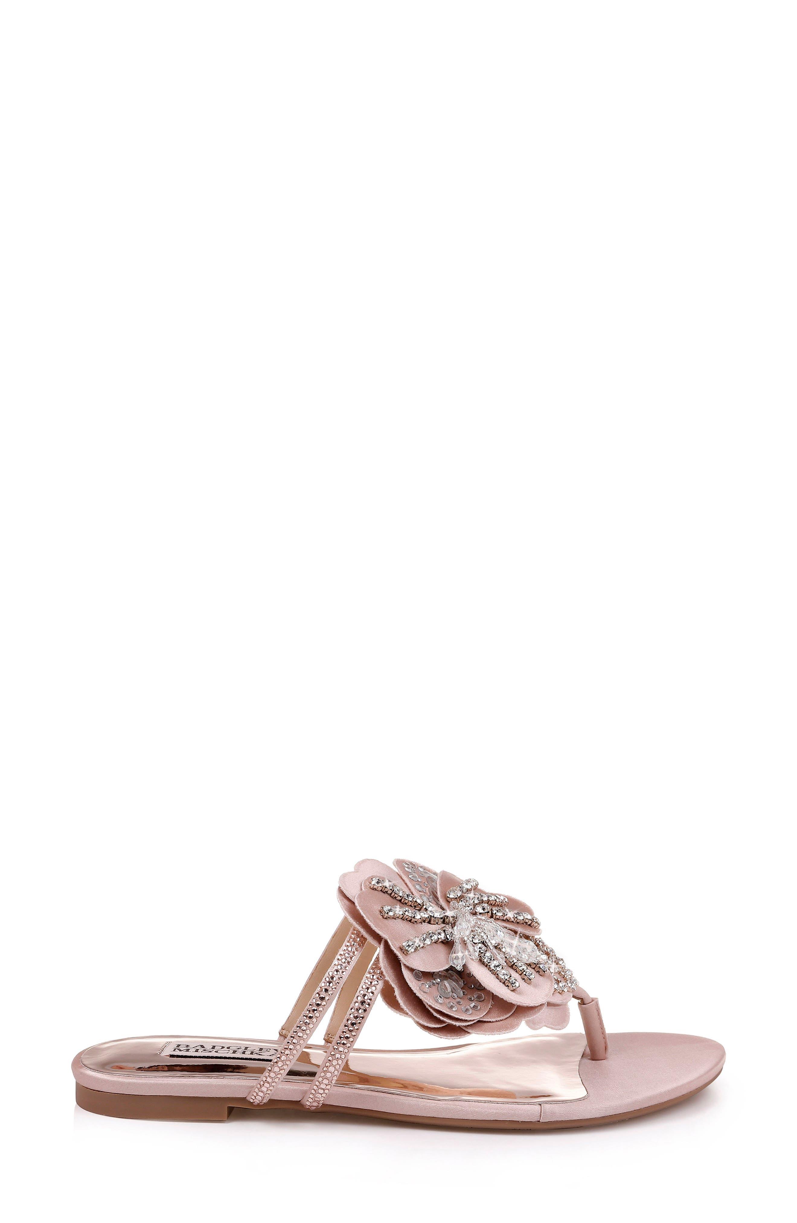 Badgley Mischka Laurie Embellished Slide Sandal,                             Alternate thumbnail 3, color,                             SOFT BLUSH SATIN