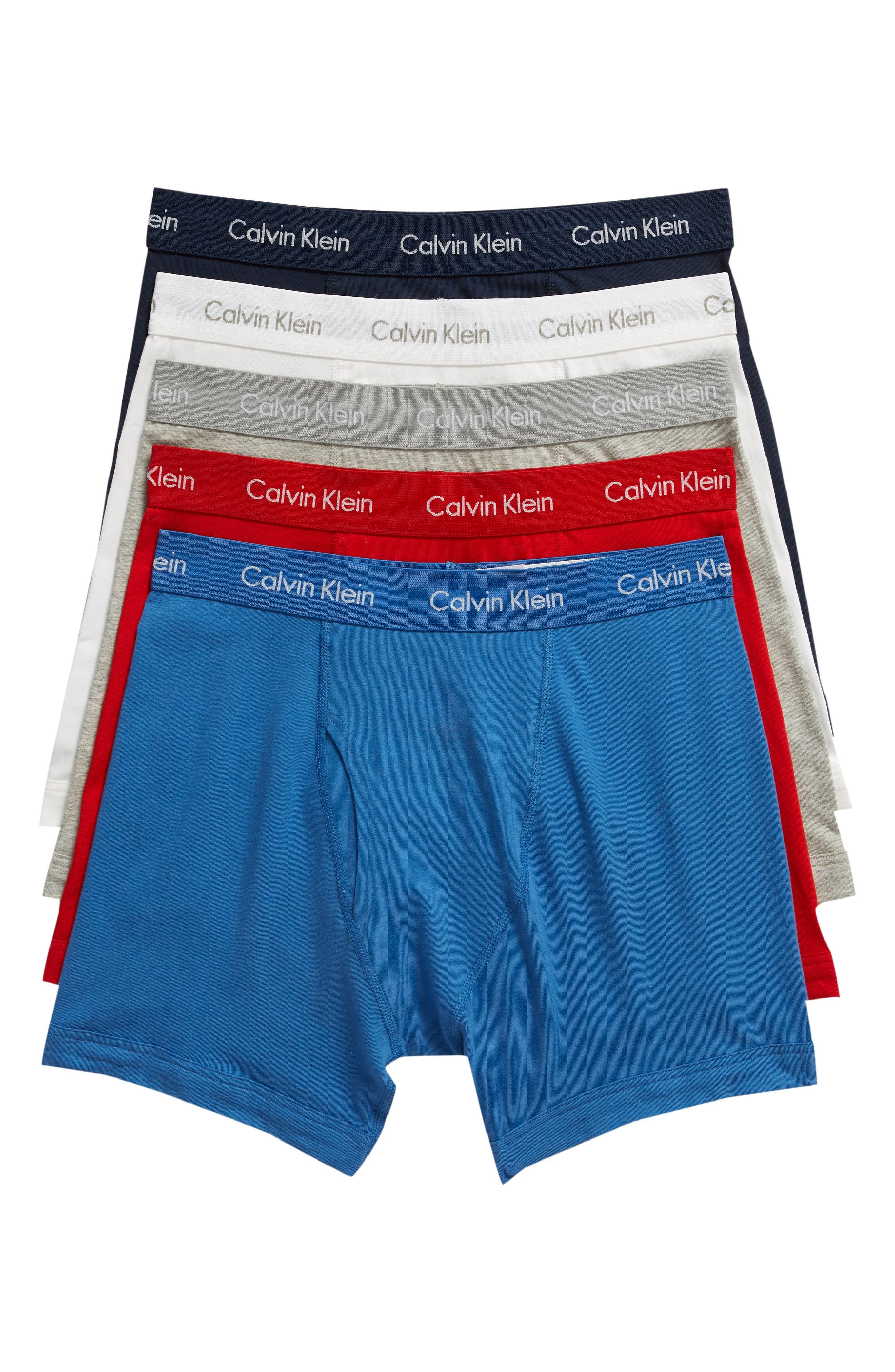 CALVIN KLEIN 5-Pack Boxer Briefs, Main, color, 403