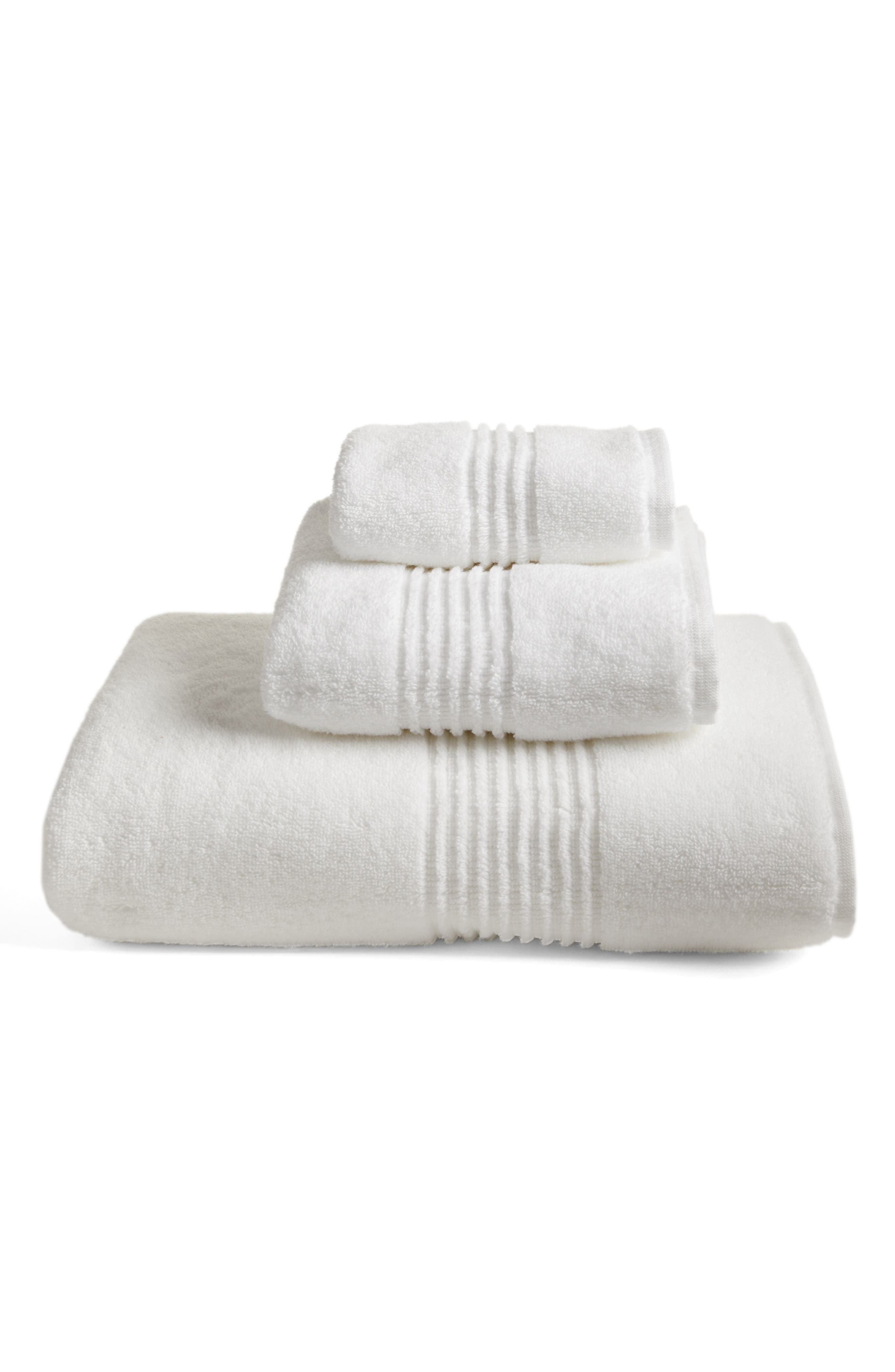NORDSTROM AT HOME,                             Organic Hydrocotton Heathered Hand Towel,                             Main thumbnail 1, color,                             WHITE
