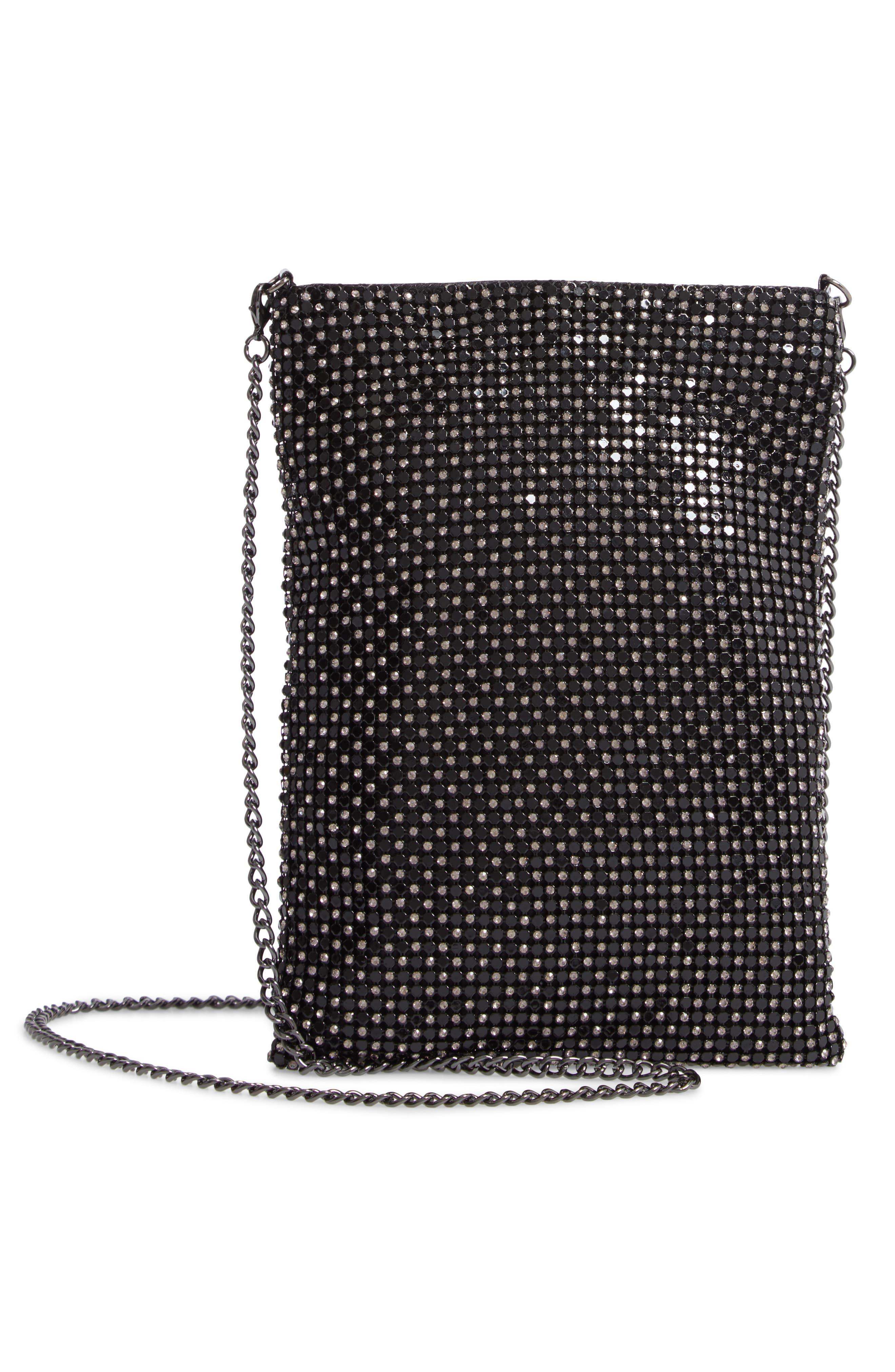 Crystal Mesh Crossbody Bag,                             Alternate thumbnail 3, color,                             BLACK