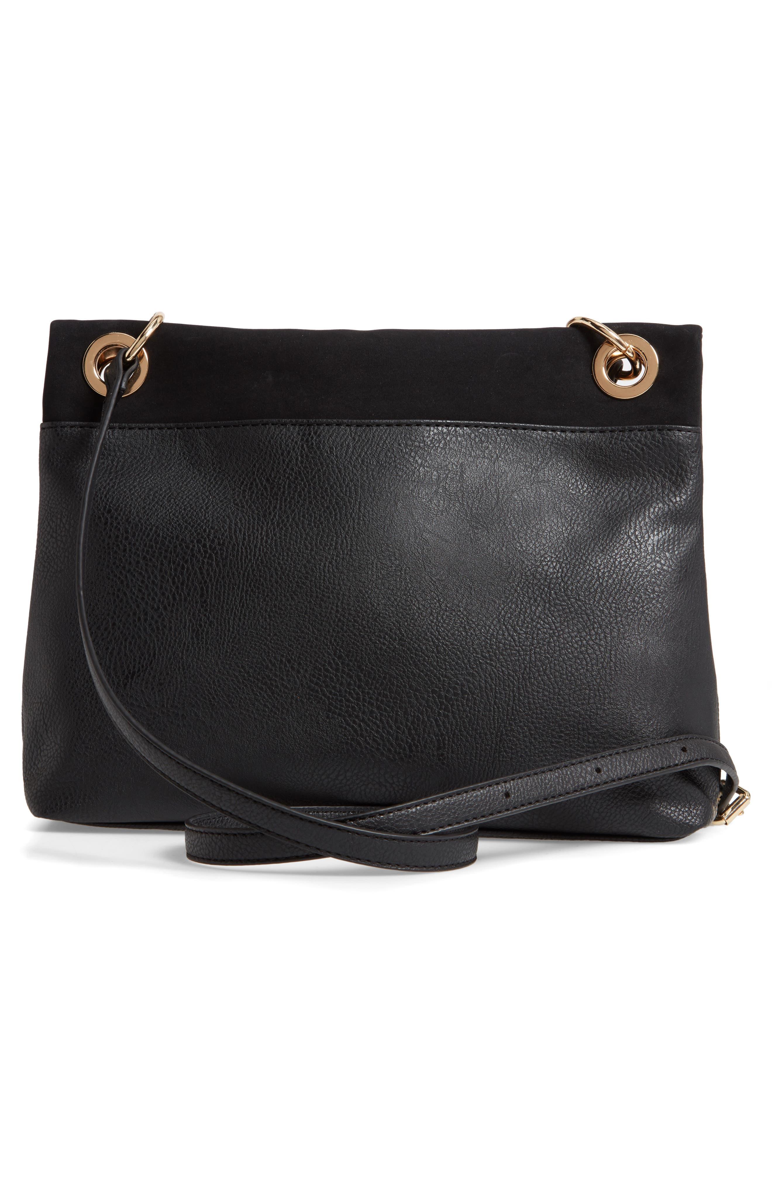 Faux Leather Foldover Tassel Crossbody Bag,                             Alternate thumbnail 3, color,                             BLACK