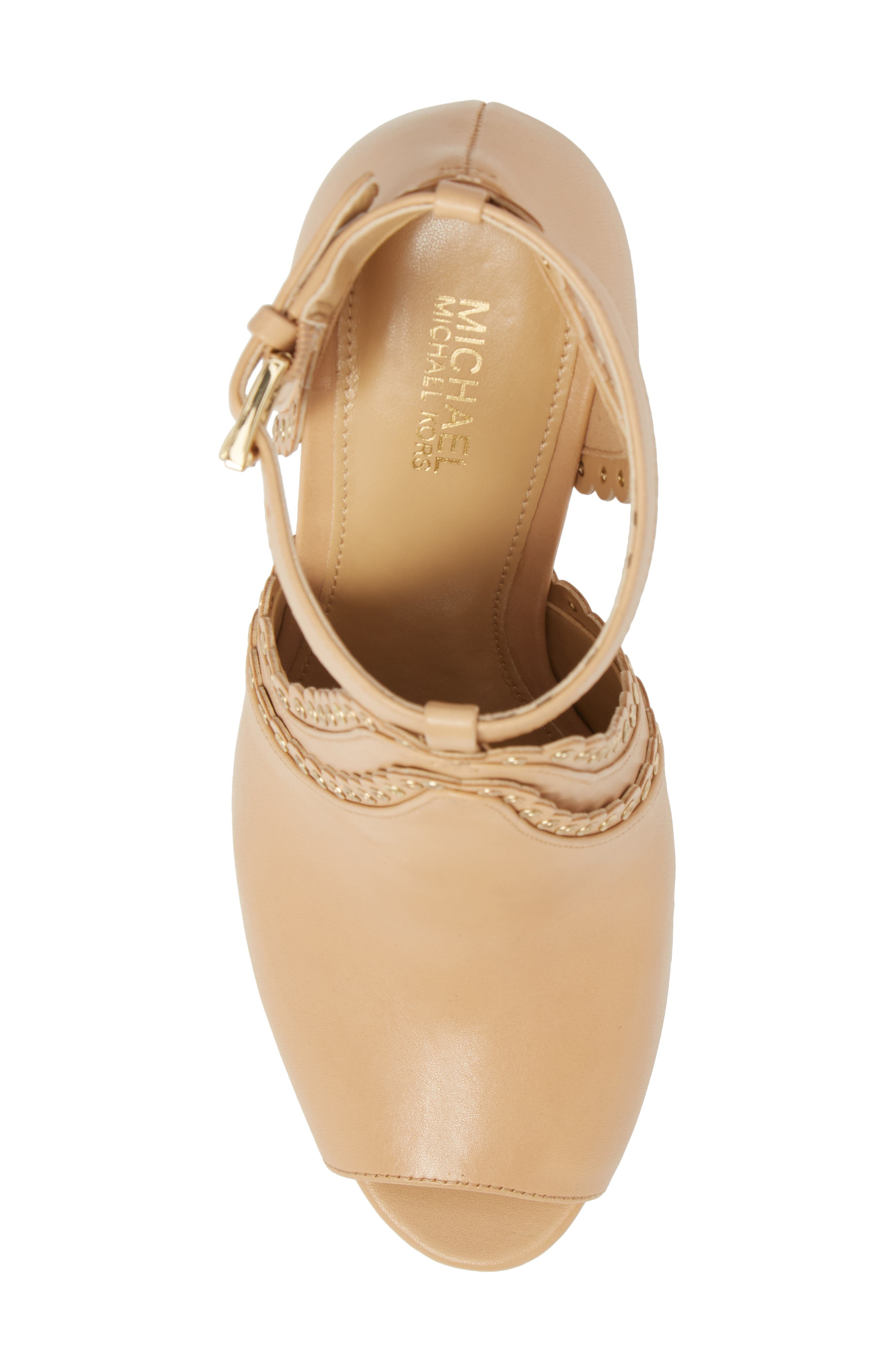 Jessie Ankle Strap Sandal,                             Alternate thumbnail 5, color,                             BUTTERNUT LEATHER