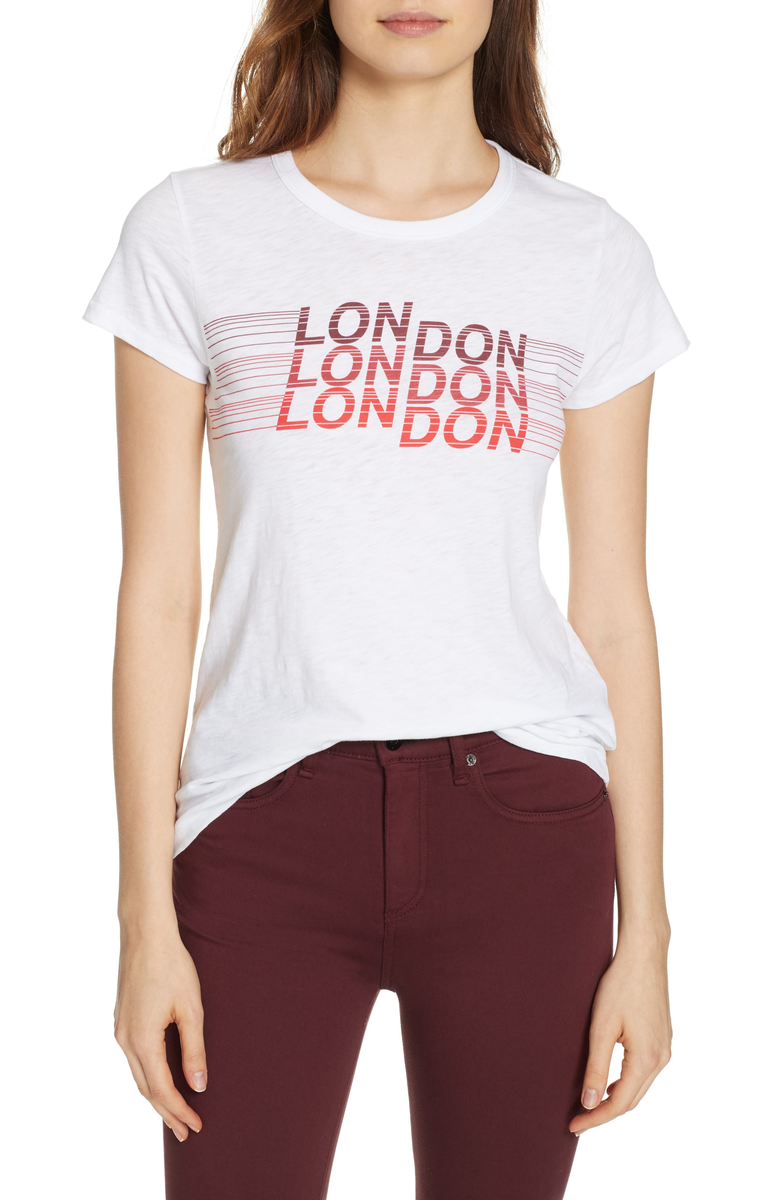 rag & bone London Tee,                         Main,                         color, WHITE