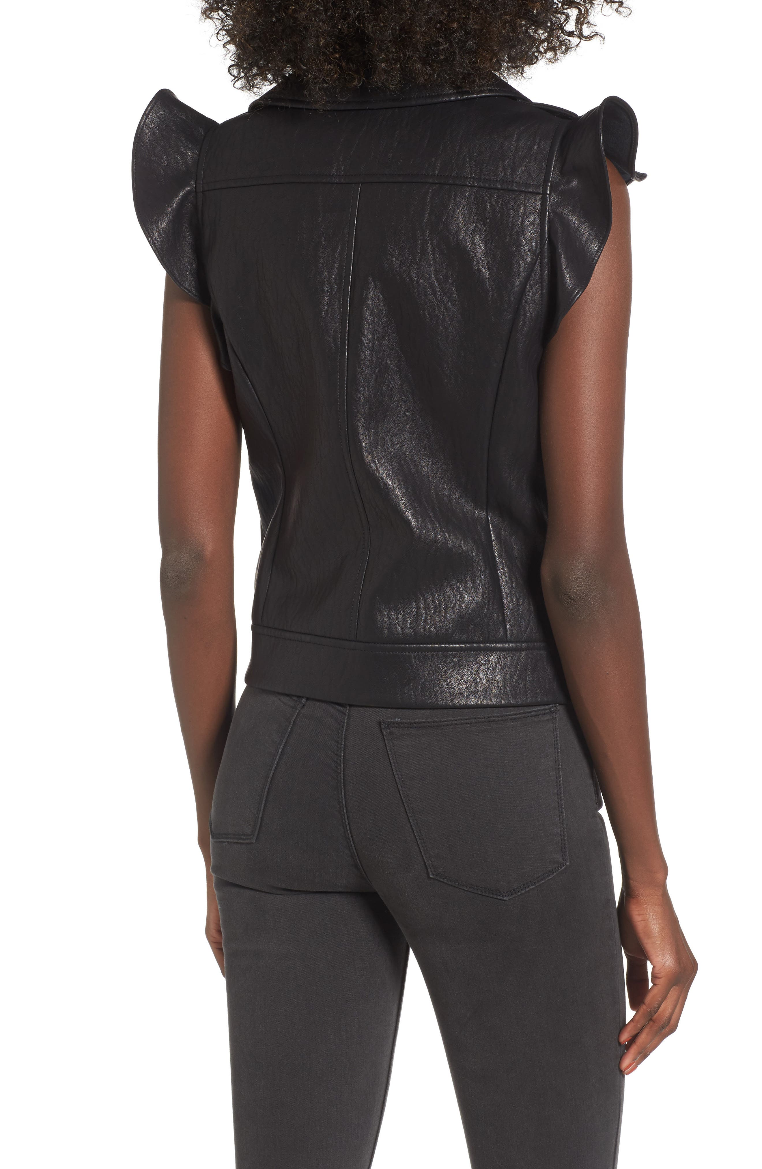 Ruffle Faux Leather Vest,                             Alternate thumbnail 2, color,                             001