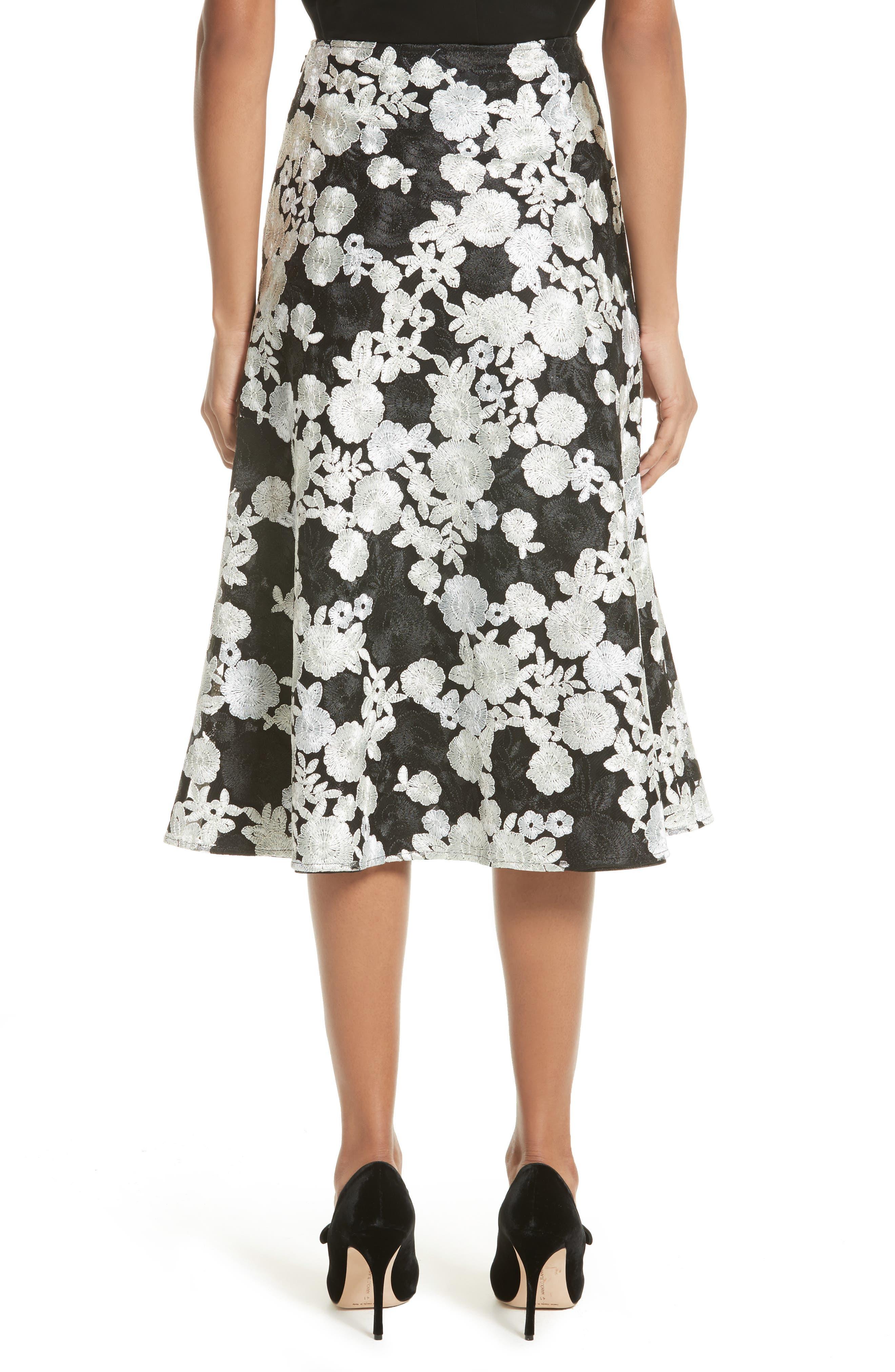 St. John Floral Embroidered Flared Skirt,                             Alternate thumbnail 2, color,                             001
