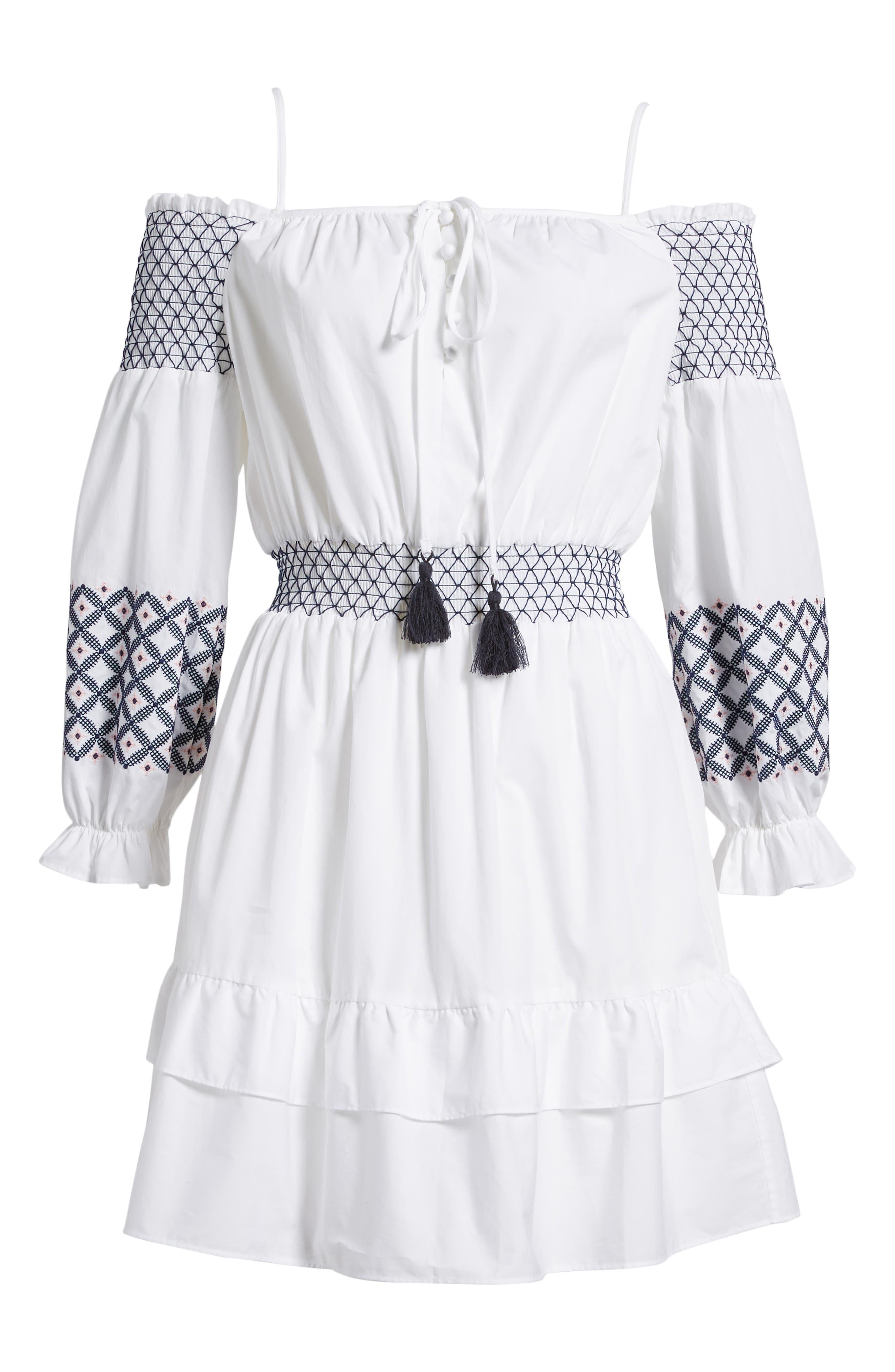 Brittany Embroidered Cold Shoulder Dress,                             Alternate thumbnail 7, color,                             100
