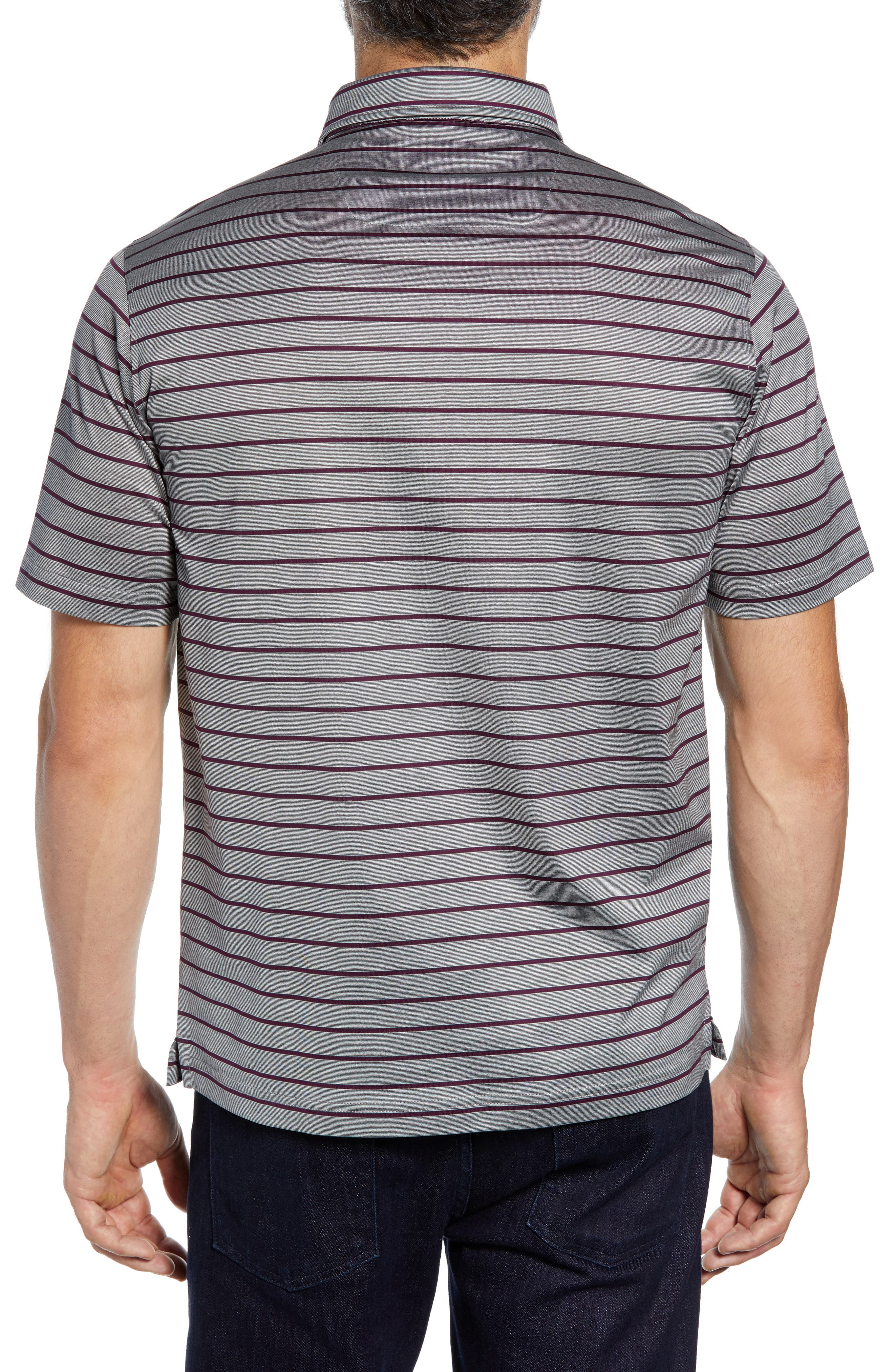 Stripe Knit Polo,                             Alternate thumbnail 2, color,                             PLATINUM