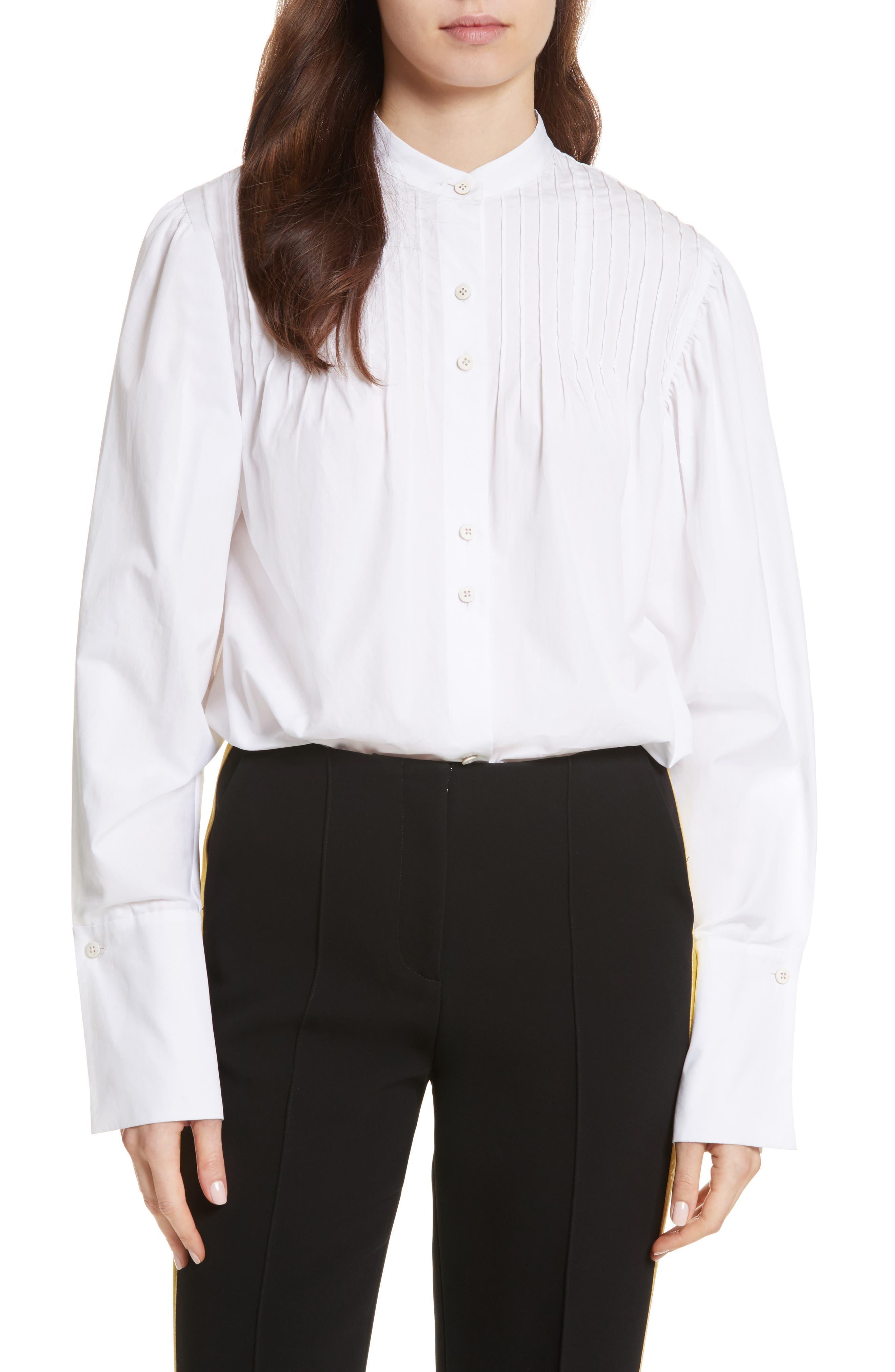 Diane von Furstenberg Pintuck Cotton Blouse,                         Main,                         color, 100