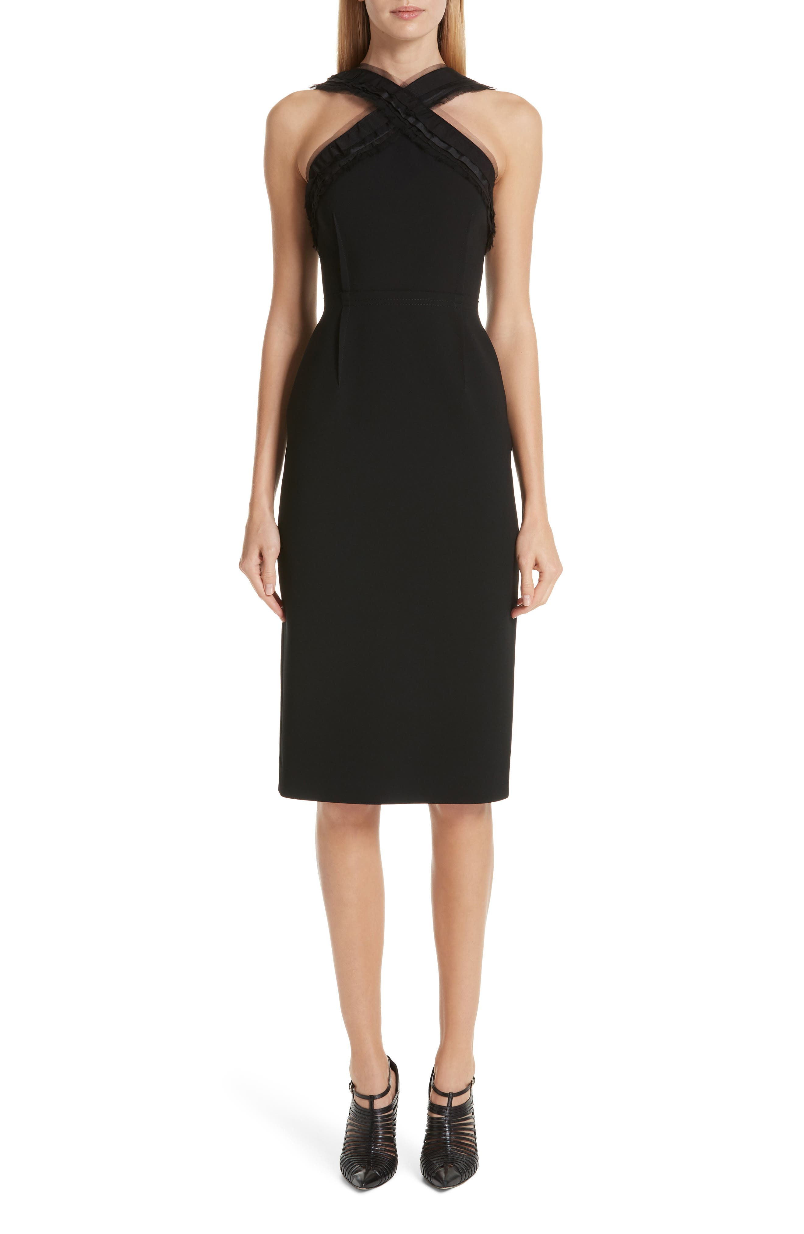 Ruched-Trim Sleeveless Compact Crepe Sheath Day Dress in Black