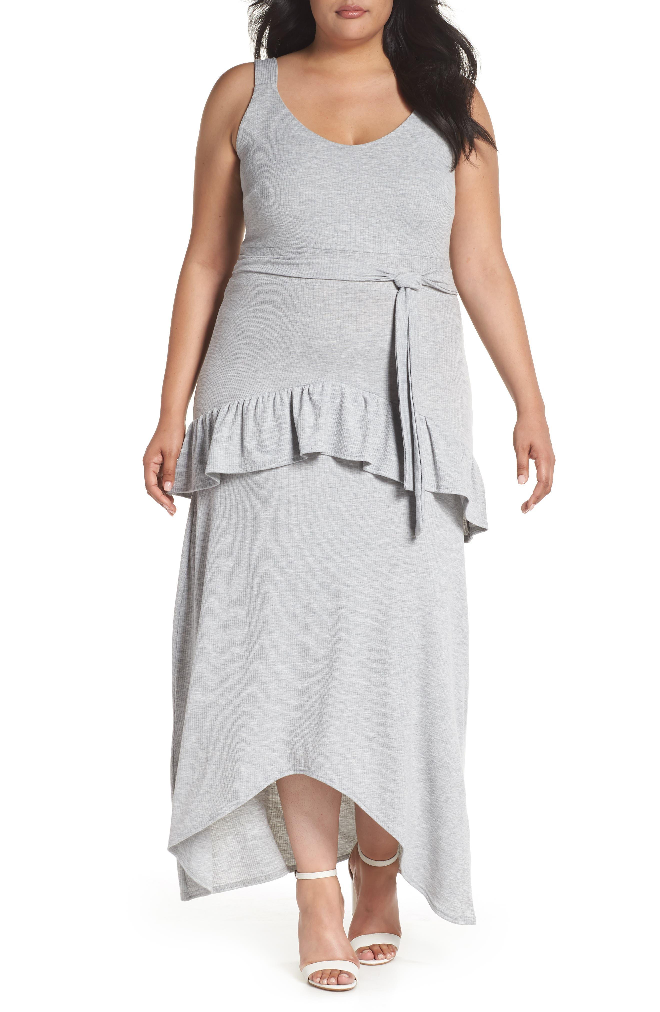 Tie Waist Ruffle Rib Jersey High/Low Dress,                             Main thumbnail 1, color,                             020
