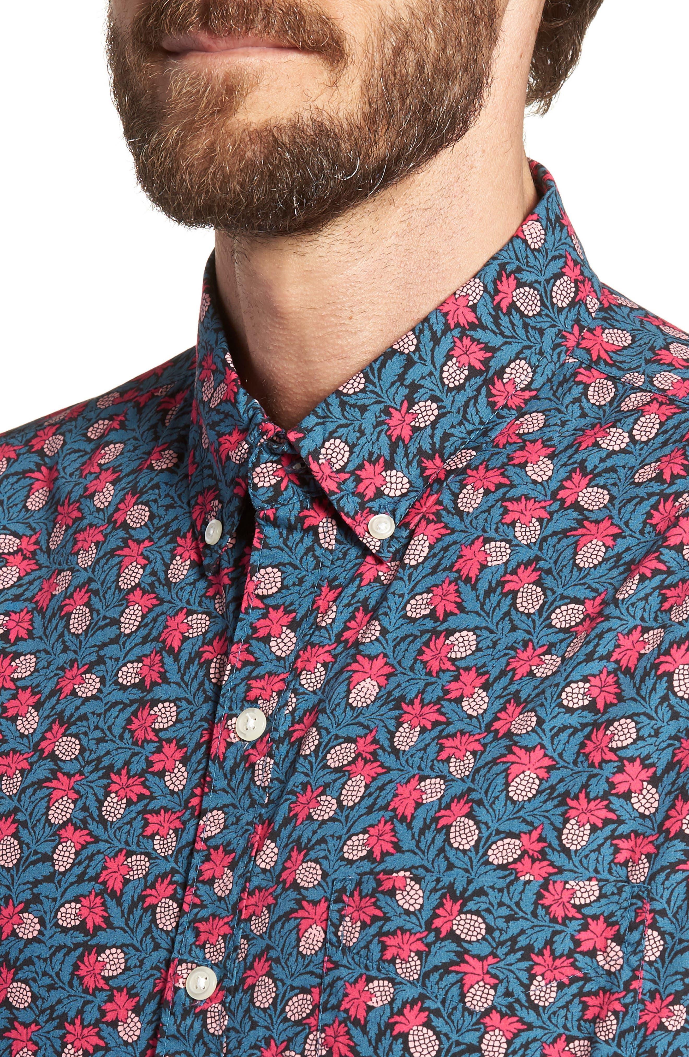Slim Fit Short Sleeve Print Sport Shirt,                             Alternate thumbnail 4, color,                             400
