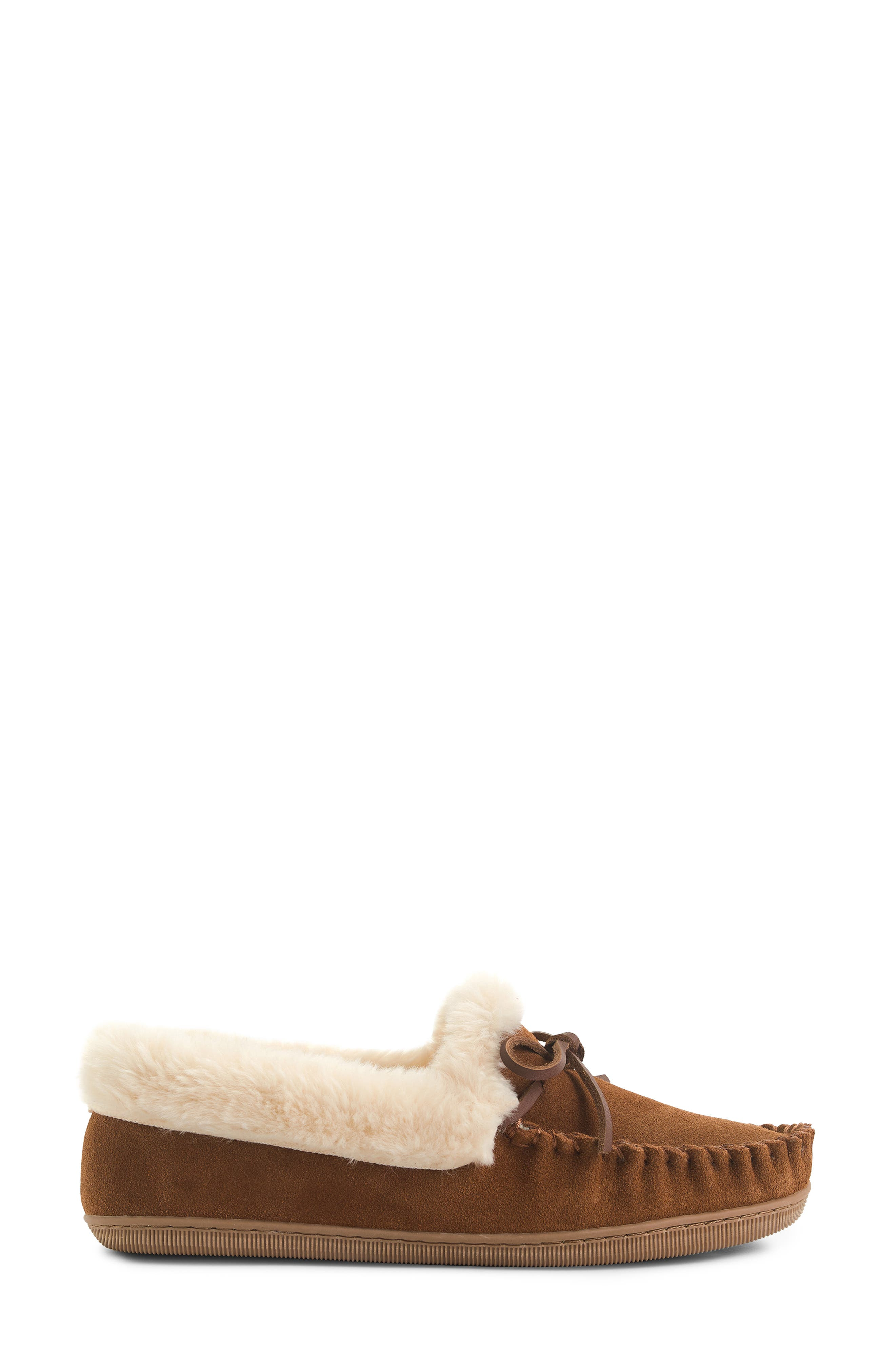 J.CREW,                             Lodge Faux Shearling Moccasin,                             Main thumbnail 1, color,                             DARK NUTMEG LEATHER