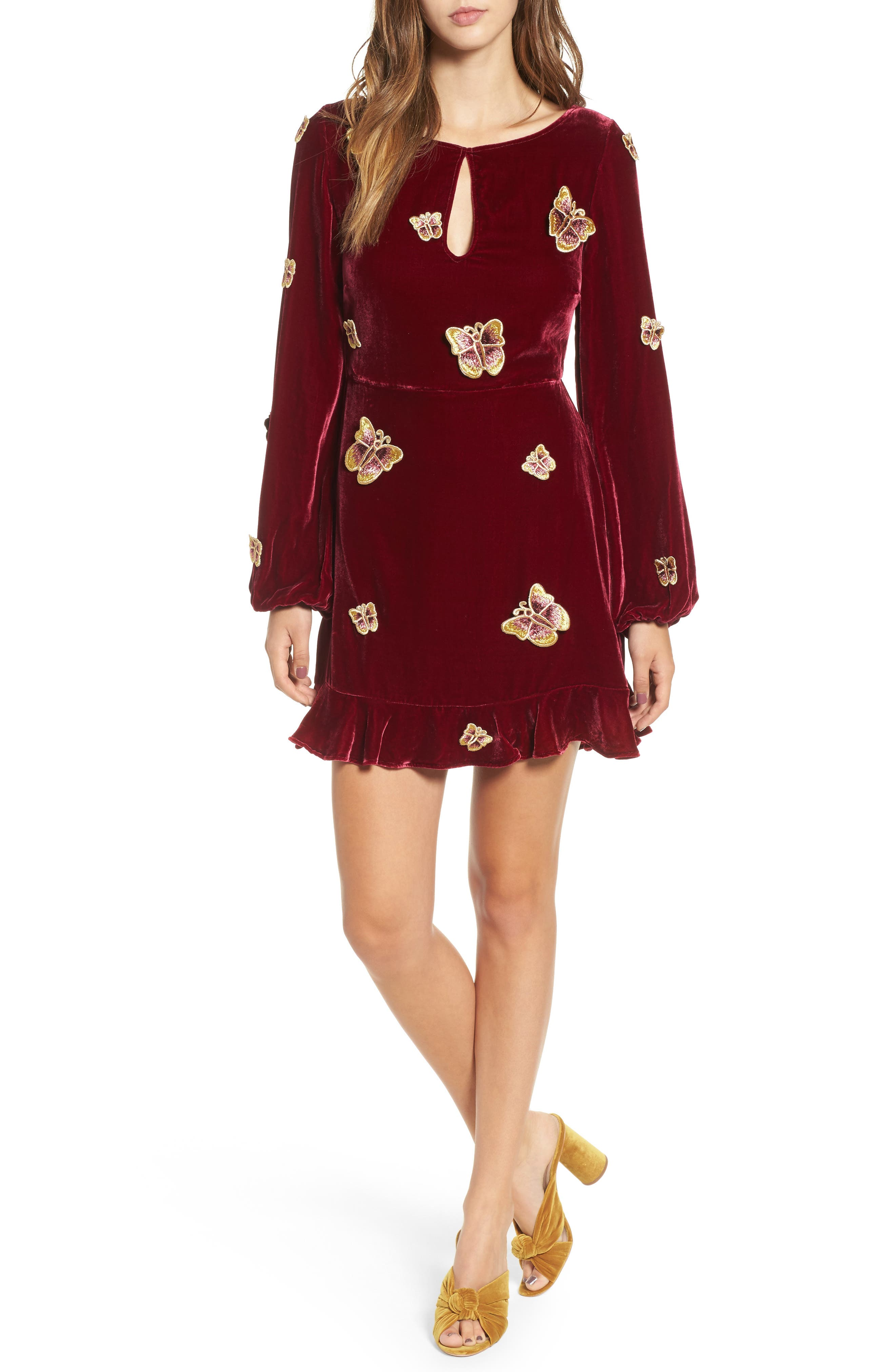 Papillon Appliqué Velvet Swing Dress,                         Main,                         color, 930