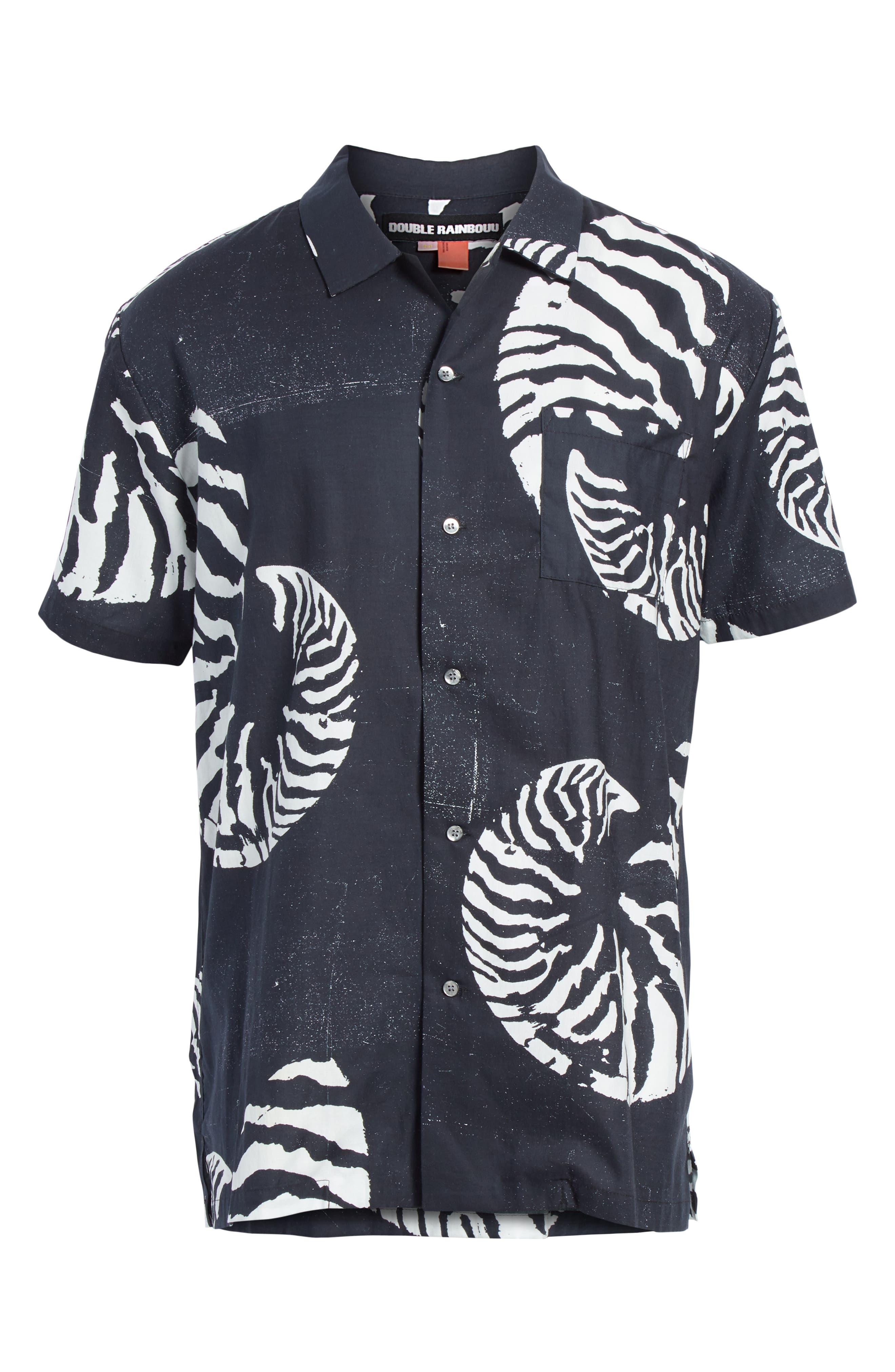 Beach House Print Camp Shirt,                             Alternate thumbnail 6, color,                             WHITE