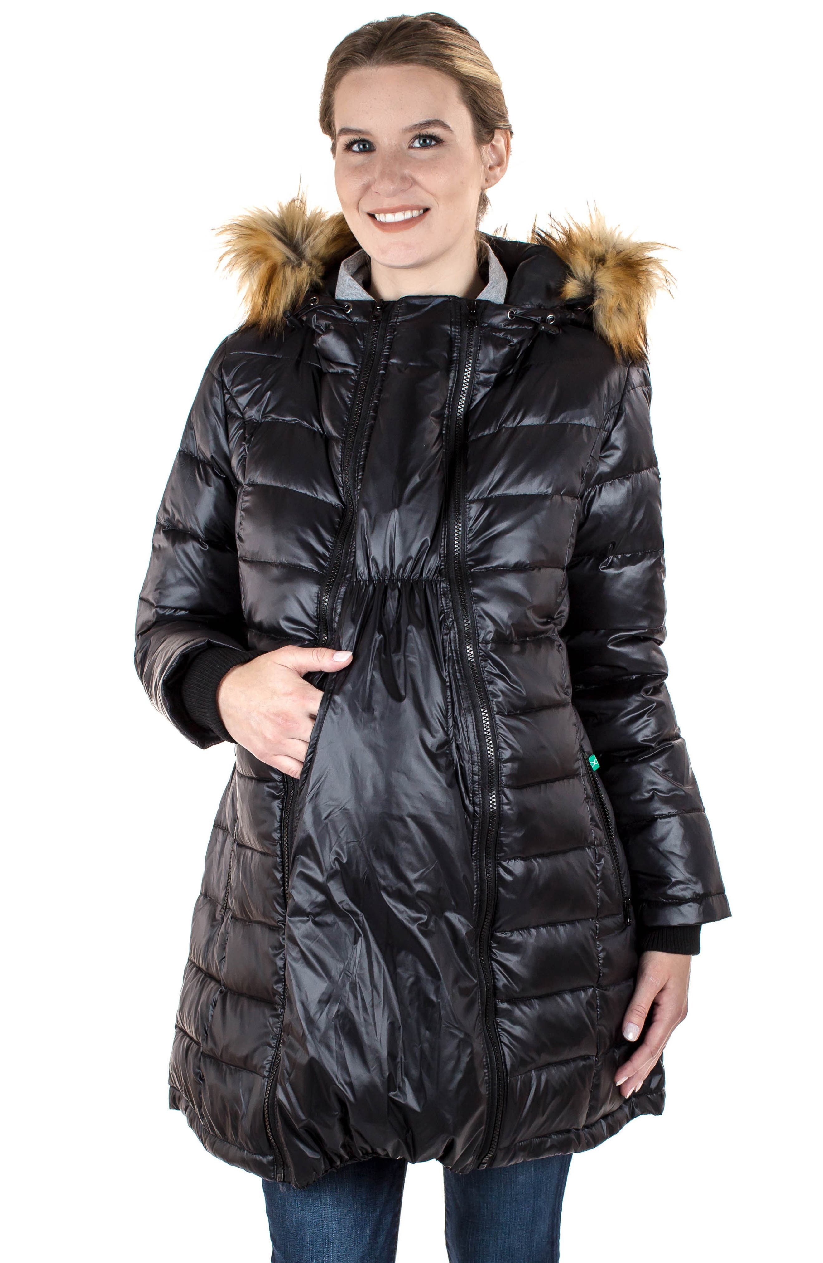 Quilted 3-in-1 Maternity/Nursing Parka,                             Alternate thumbnail 10, color,                             BLACK