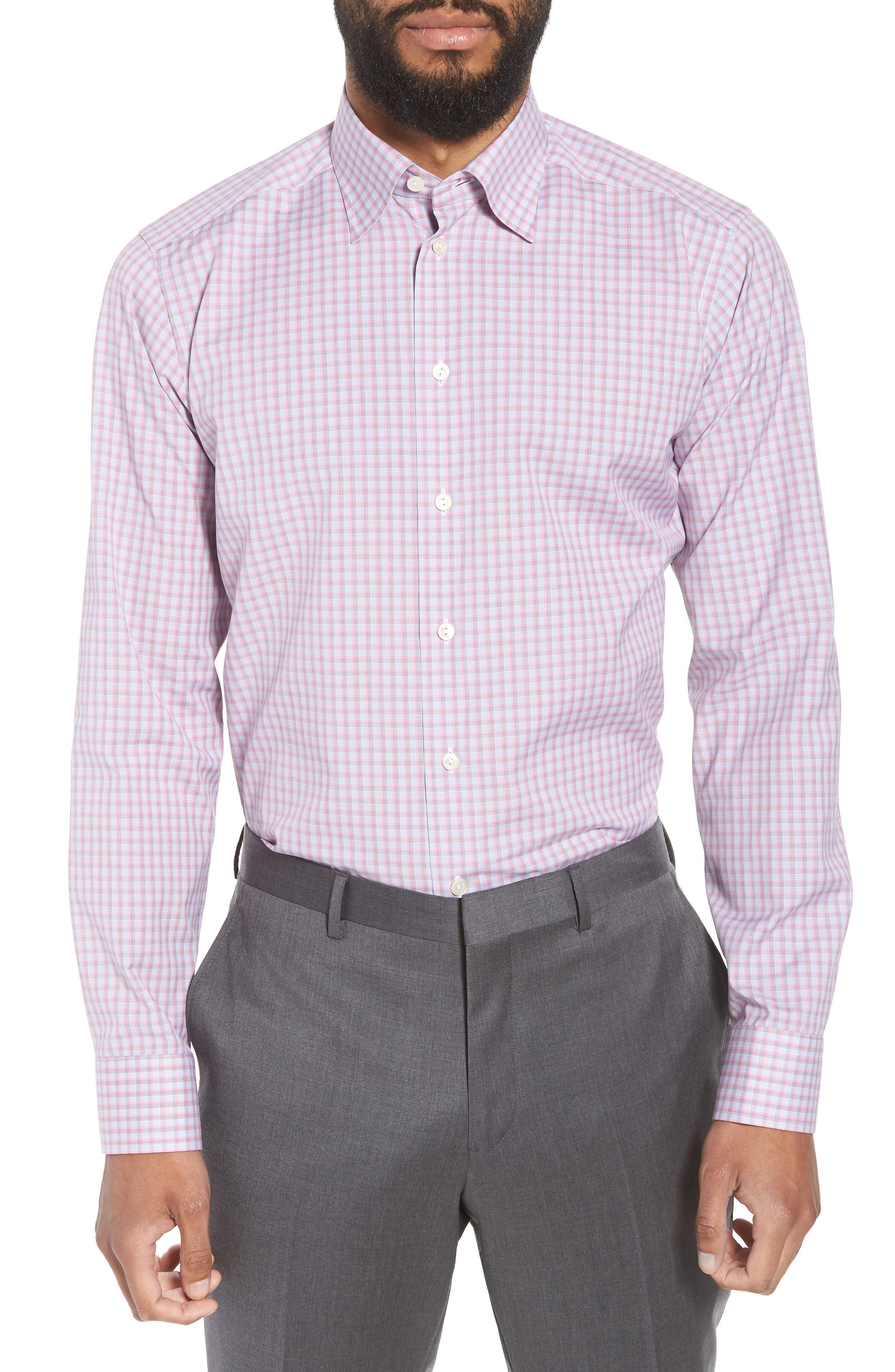 Contemporary Fit Plaid Dress Shirt,                         Main,                         color, PINK