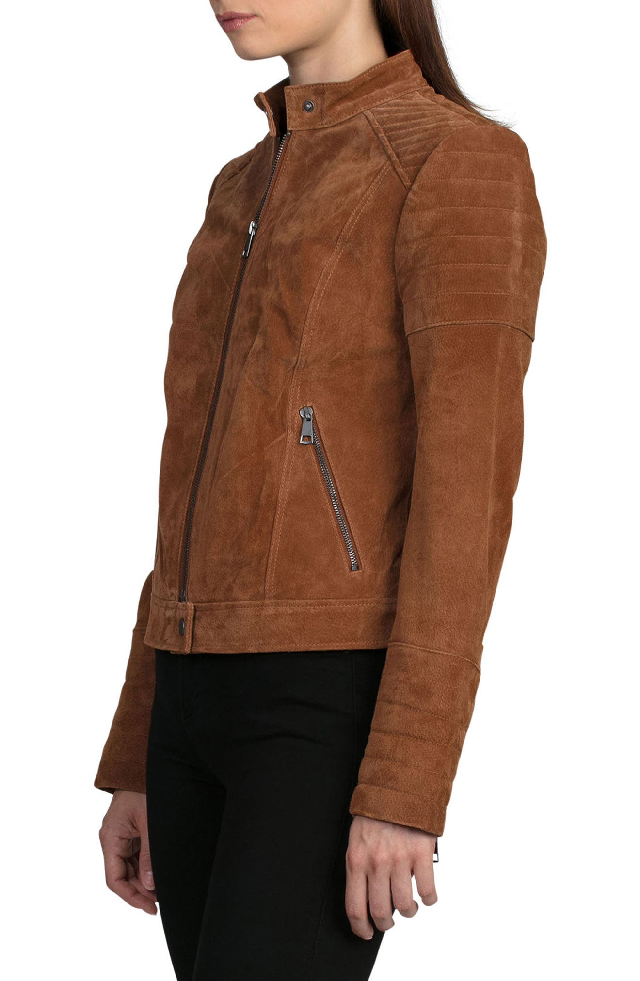 Suede Moto Jacket,                             Alternate thumbnail 3, color,                             200