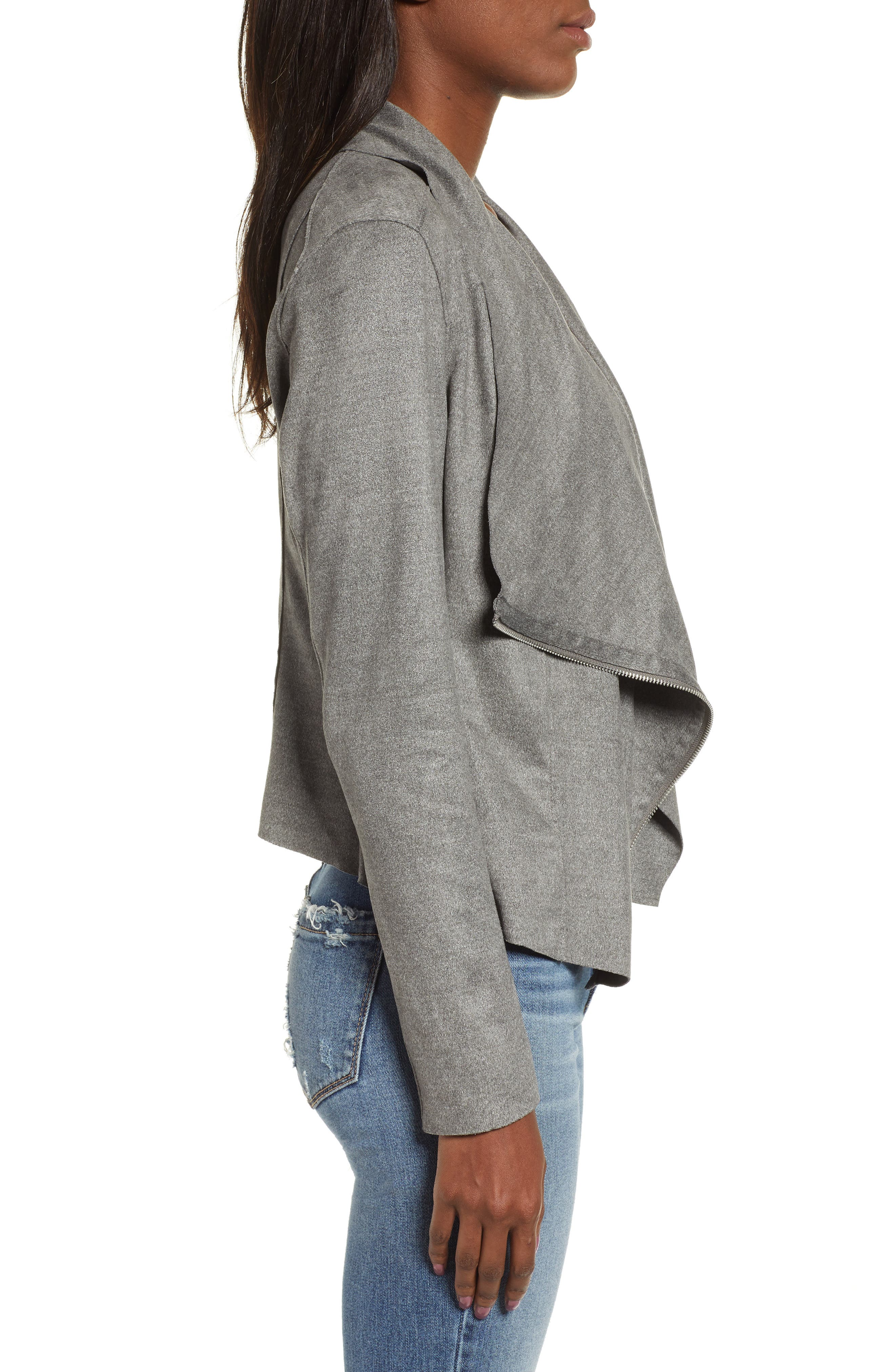 BLANKNYC,                             Faux Suede Drape Jacket,                             Alternate thumbnail 4, color,                             HEATHERED GREY