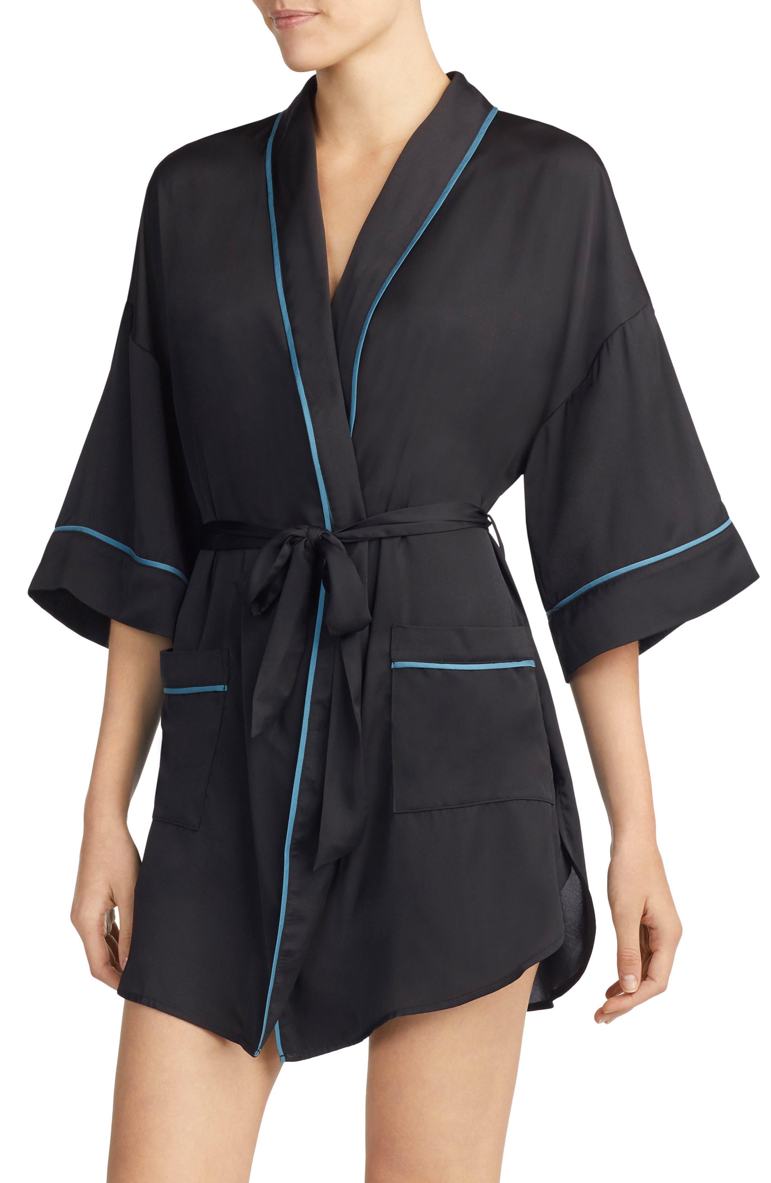 ROOM SERVICE Snake Print Satin Short Robe, Main, color, 001