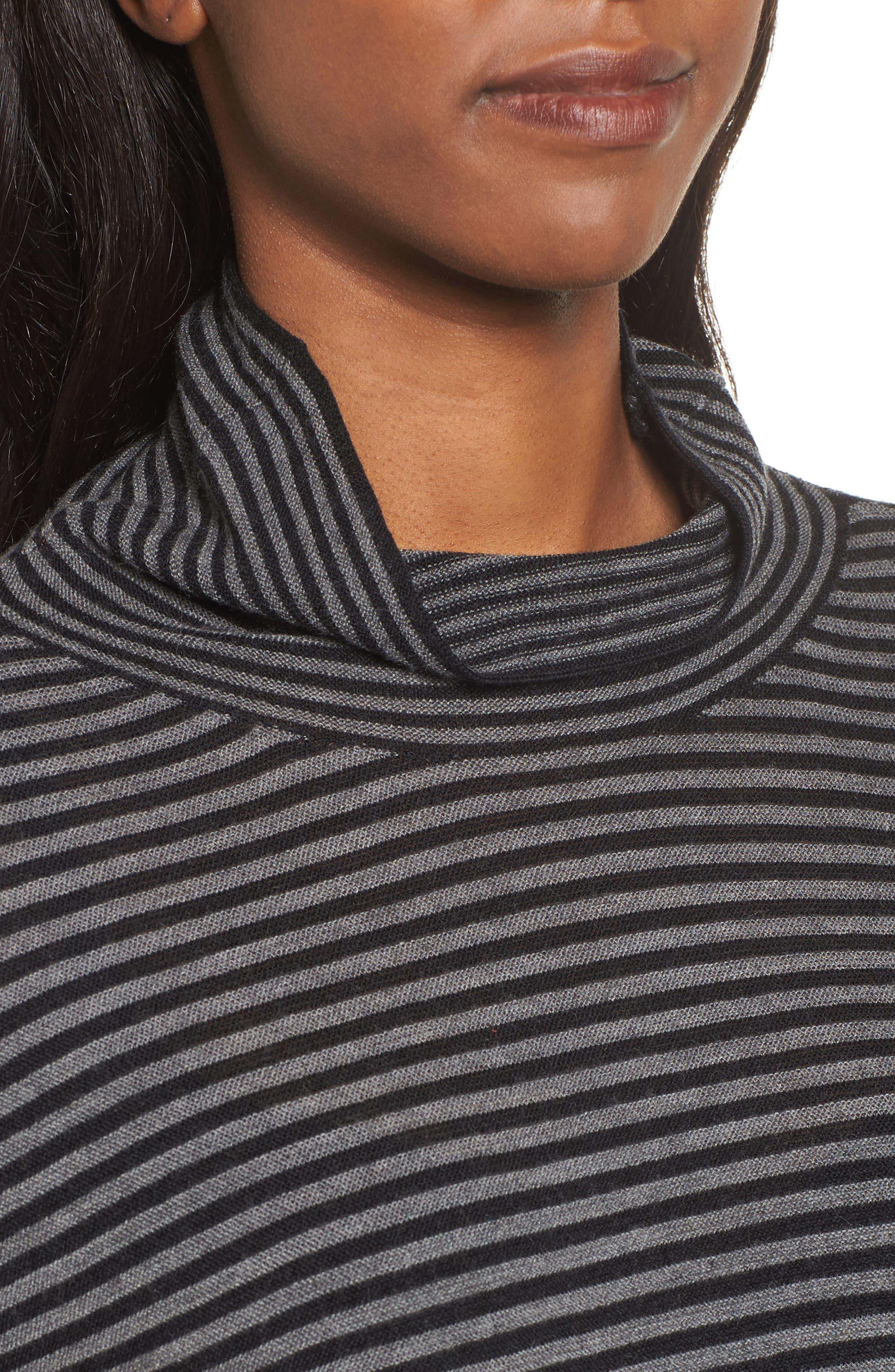 Stripe Merino Wool Tunic,                             Alternate thumbnail 4, color,                             028