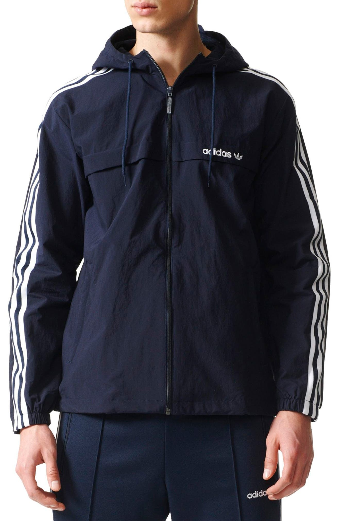 3-Stripe Hooded Windbreaker,                             Main thumbnail 2, color,