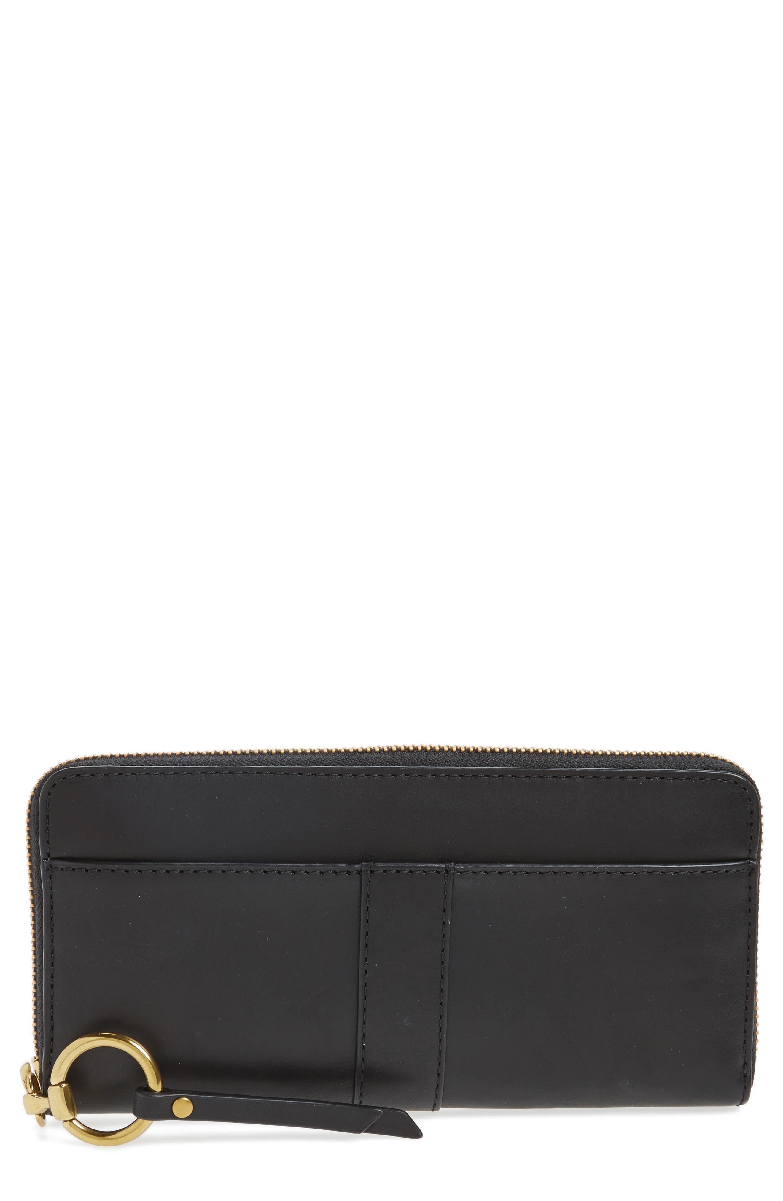 Ilana Harness Leather Zip Wallet,                             Main thumbnail 1, color,                             001
