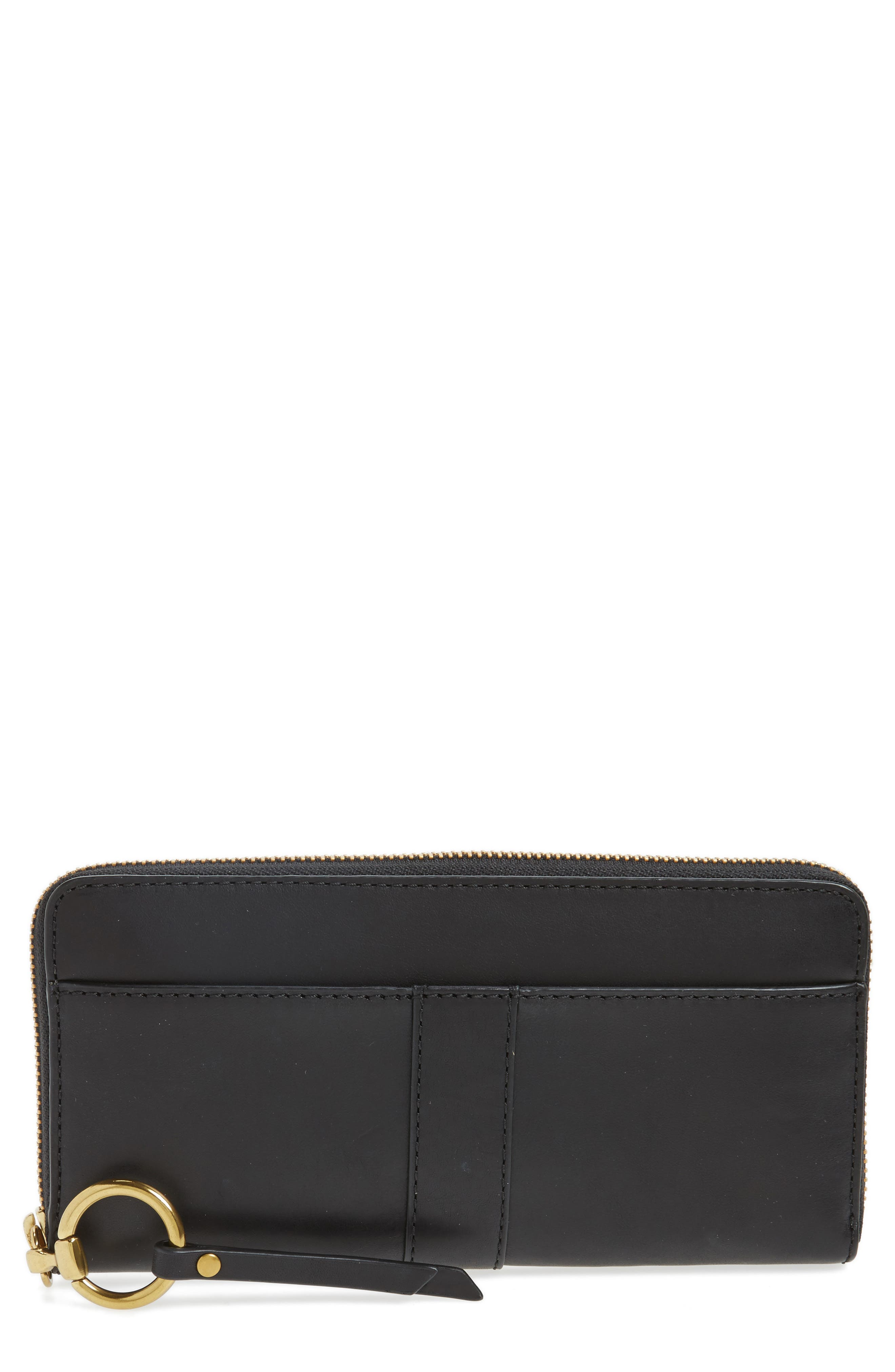 Ilana Harness Leather Zip Wallet,                         Main,                         color, 001