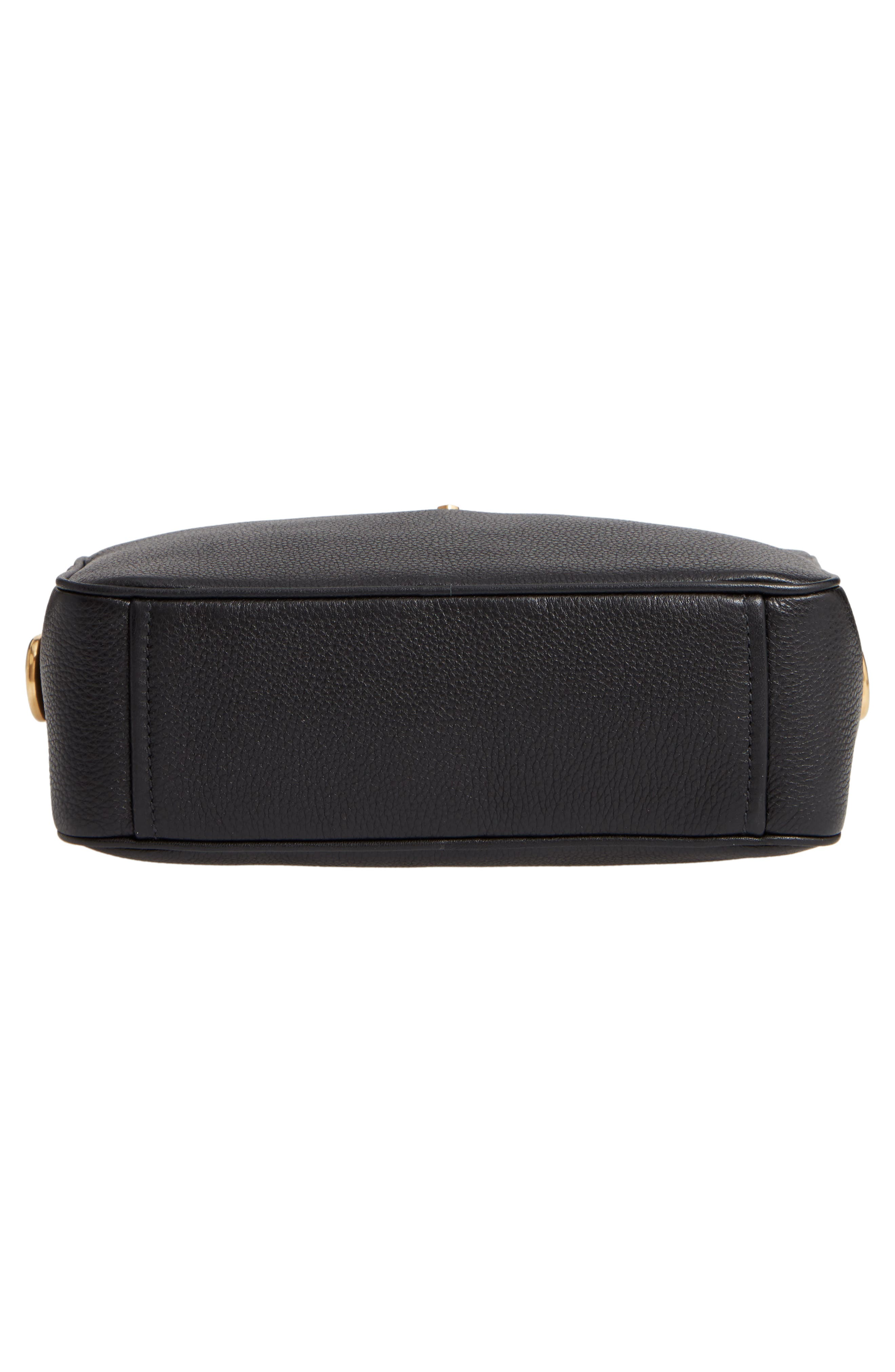 Vitello Daino Leather Camera Bag,                             Alternate thumbnail 7, color,                             NERO