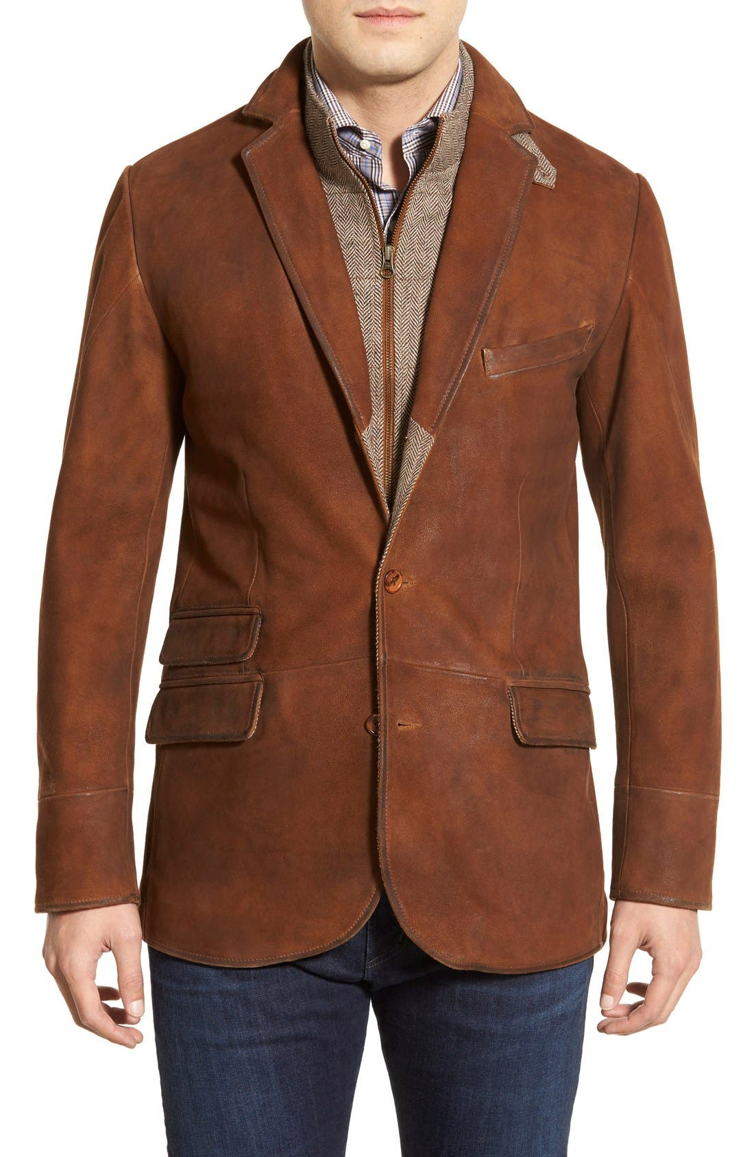 Classic Fit Distressed Leather Hybrid Coat,                             Main thumbnail 1, color,                             BROWN