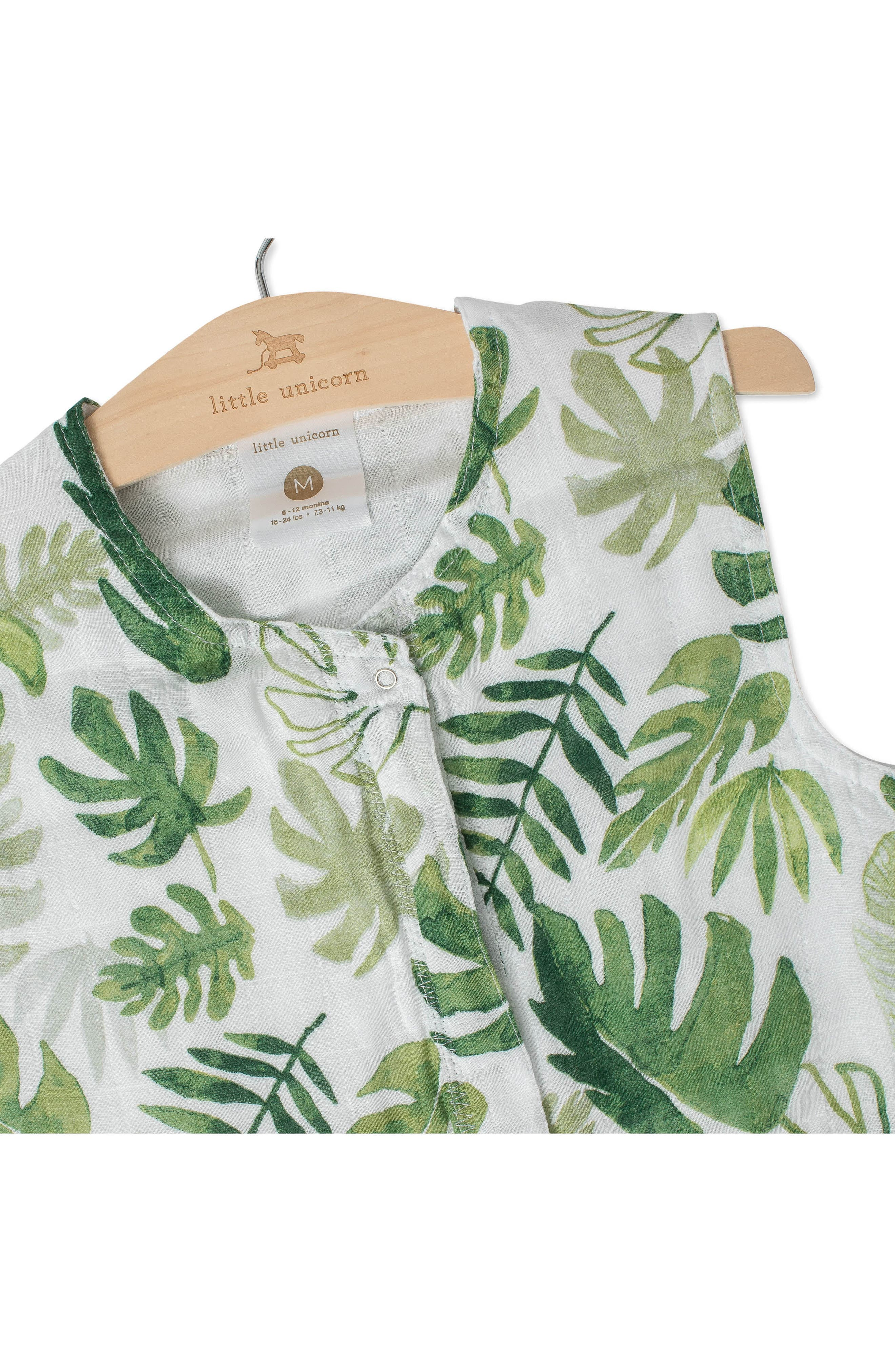 Cotton Muslin Wearable Blanket,                             Alternate thumbnail 2, color,                             TROPICAL LEAF