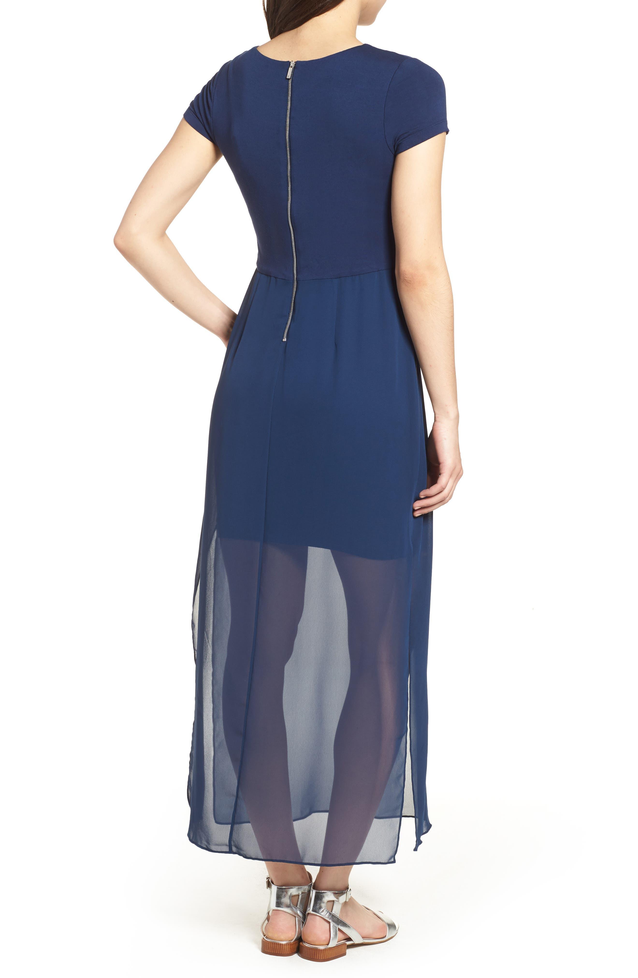 Chiffon Overlay Maxi Dress,                             Alternate thumbnail 2, color,                             HIGH TIDE