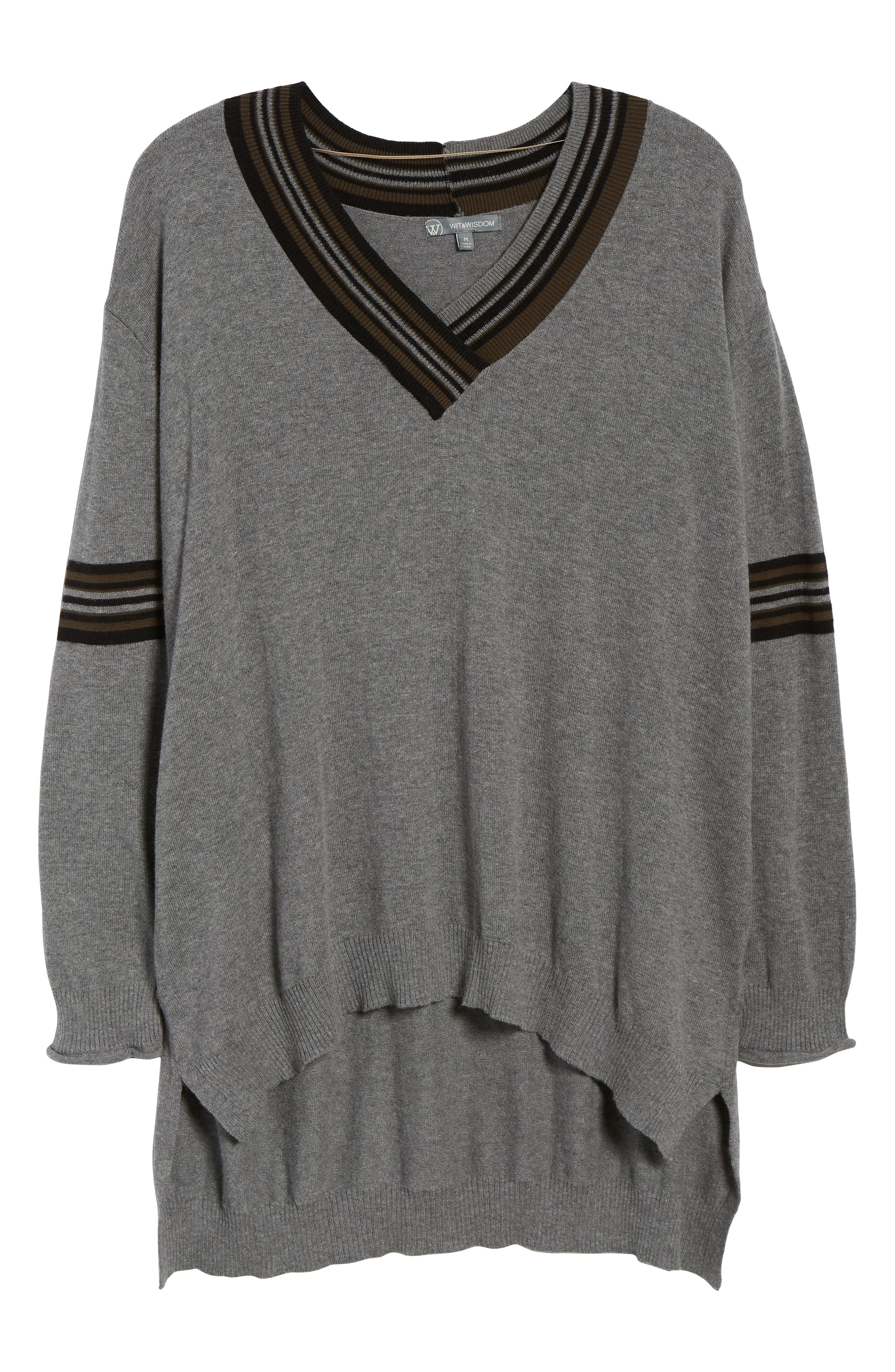 High/Low Cotton Blend Sweater,                             Alternate thumbnail 6, color,                             HG- HEATHER GREY